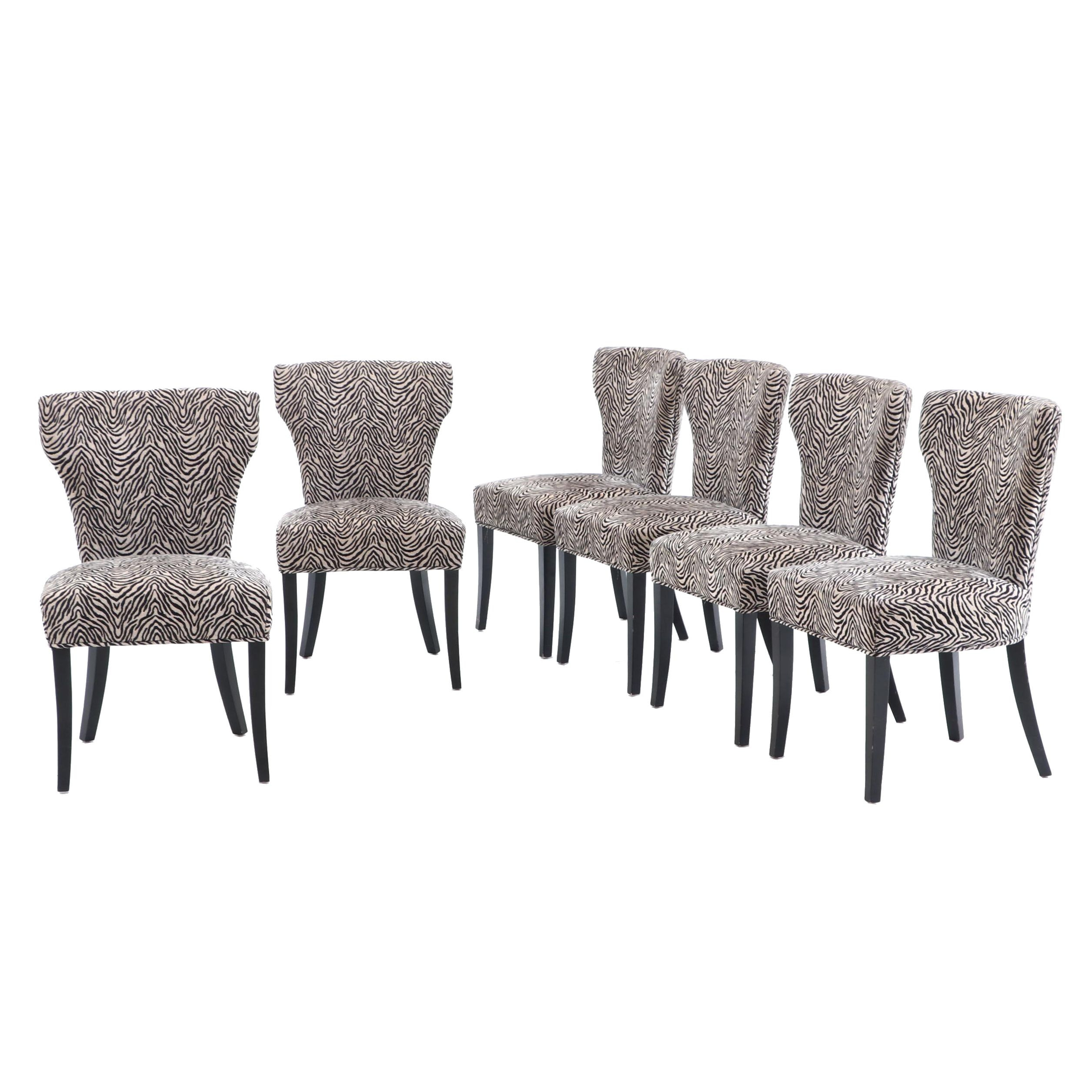 Six Zebra Patterned Upholstered Side Dining Chairs