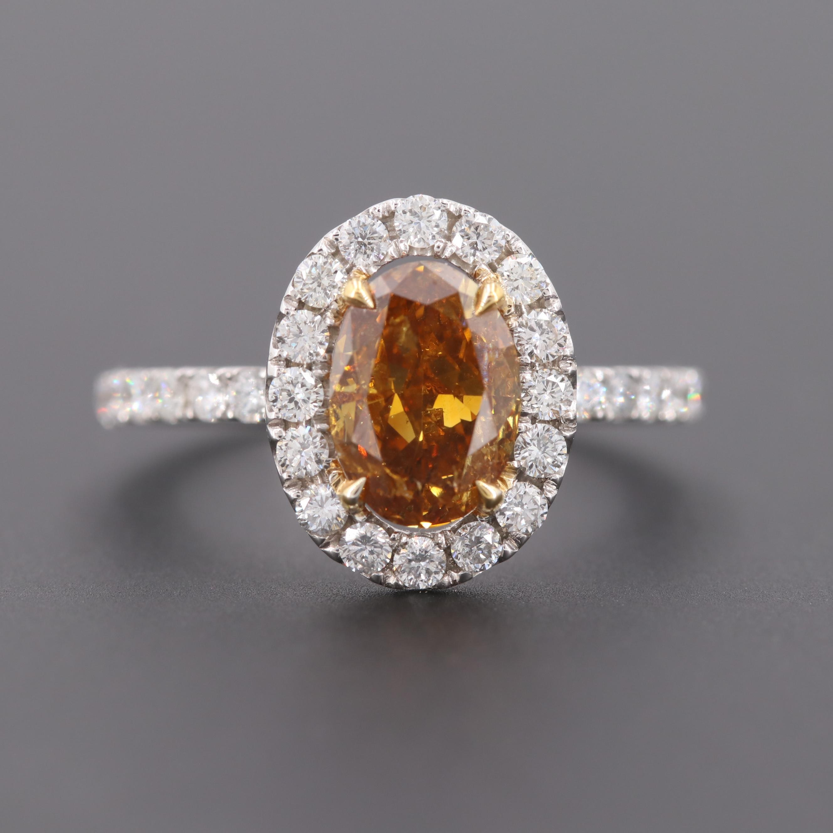 18K White Gold 2.11 CTW Fancy Orangey Yellow Diamond Ring with GIA Report
