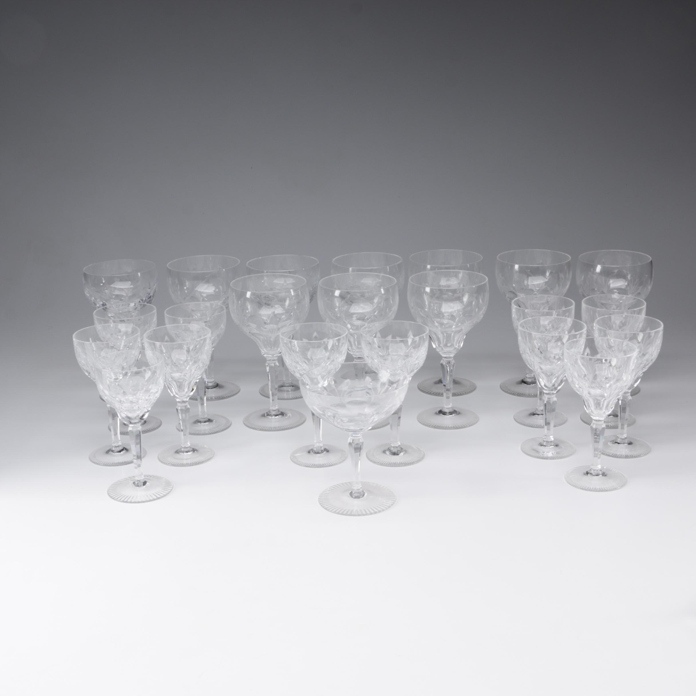 Crystal Wine Glasses, Cordials, and Champagne Coupe