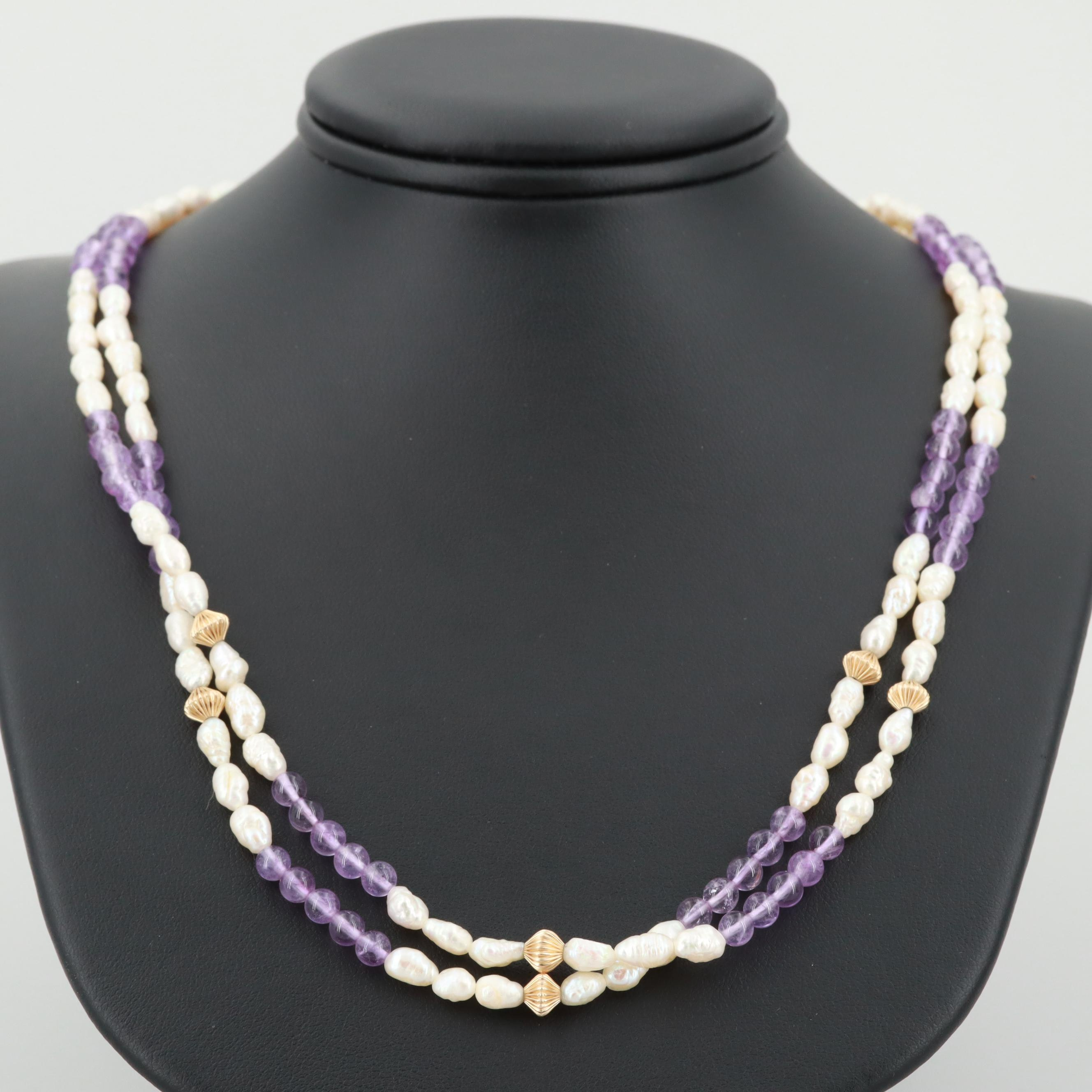 I14K Yellow Gold Double Strand Amethyst and Cultured Pearl Necklace
