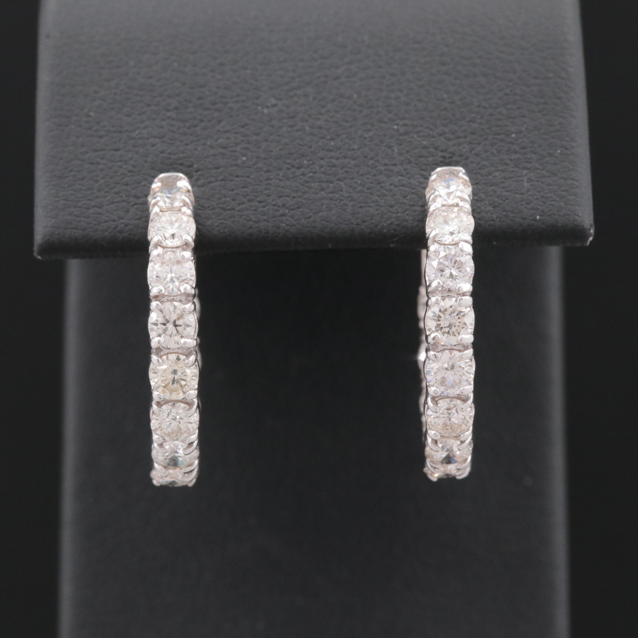18K White Gold 2.88 CTW Diamond Hoop Earrings