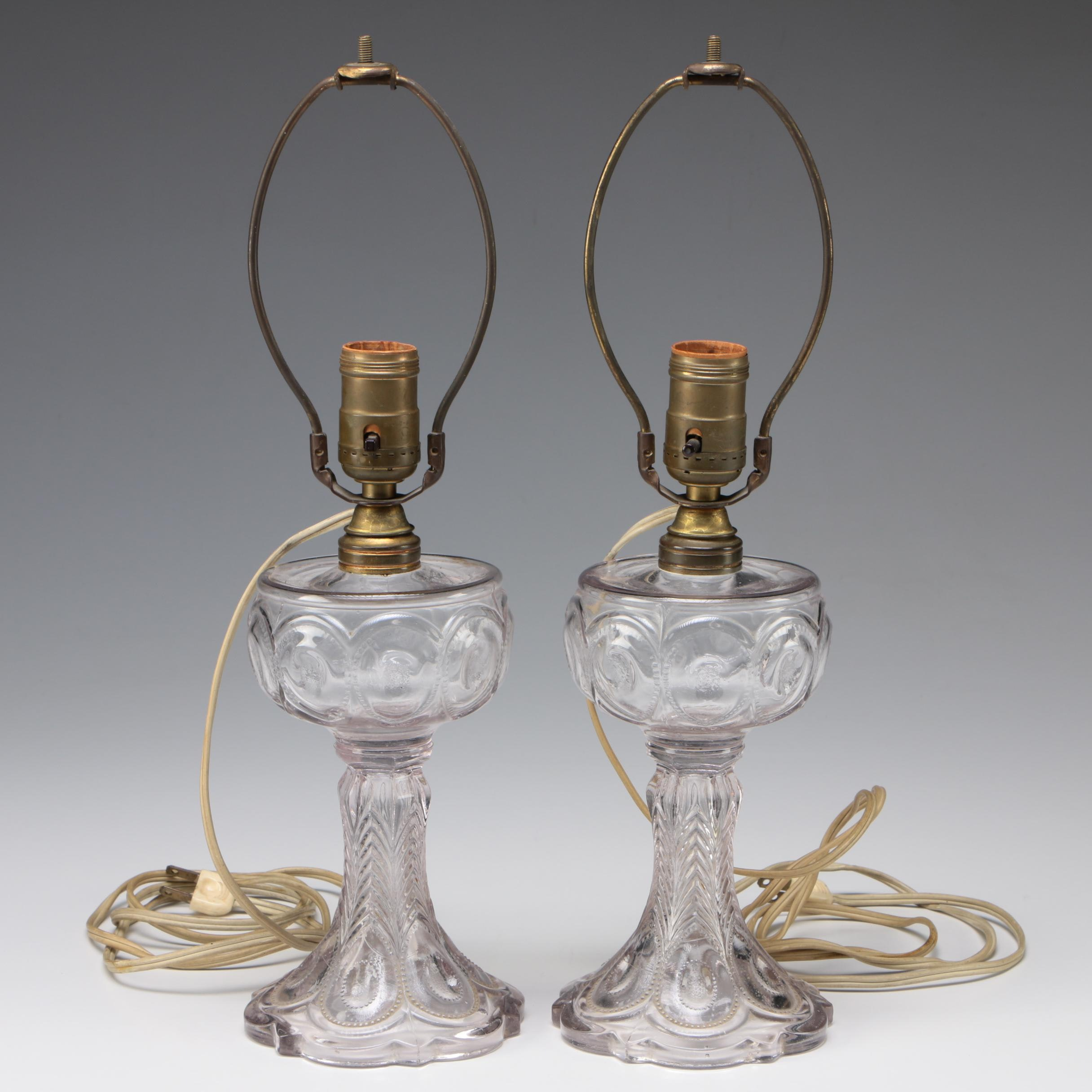 Converted Pressed Glass Oil Lamps, Mid-Century
