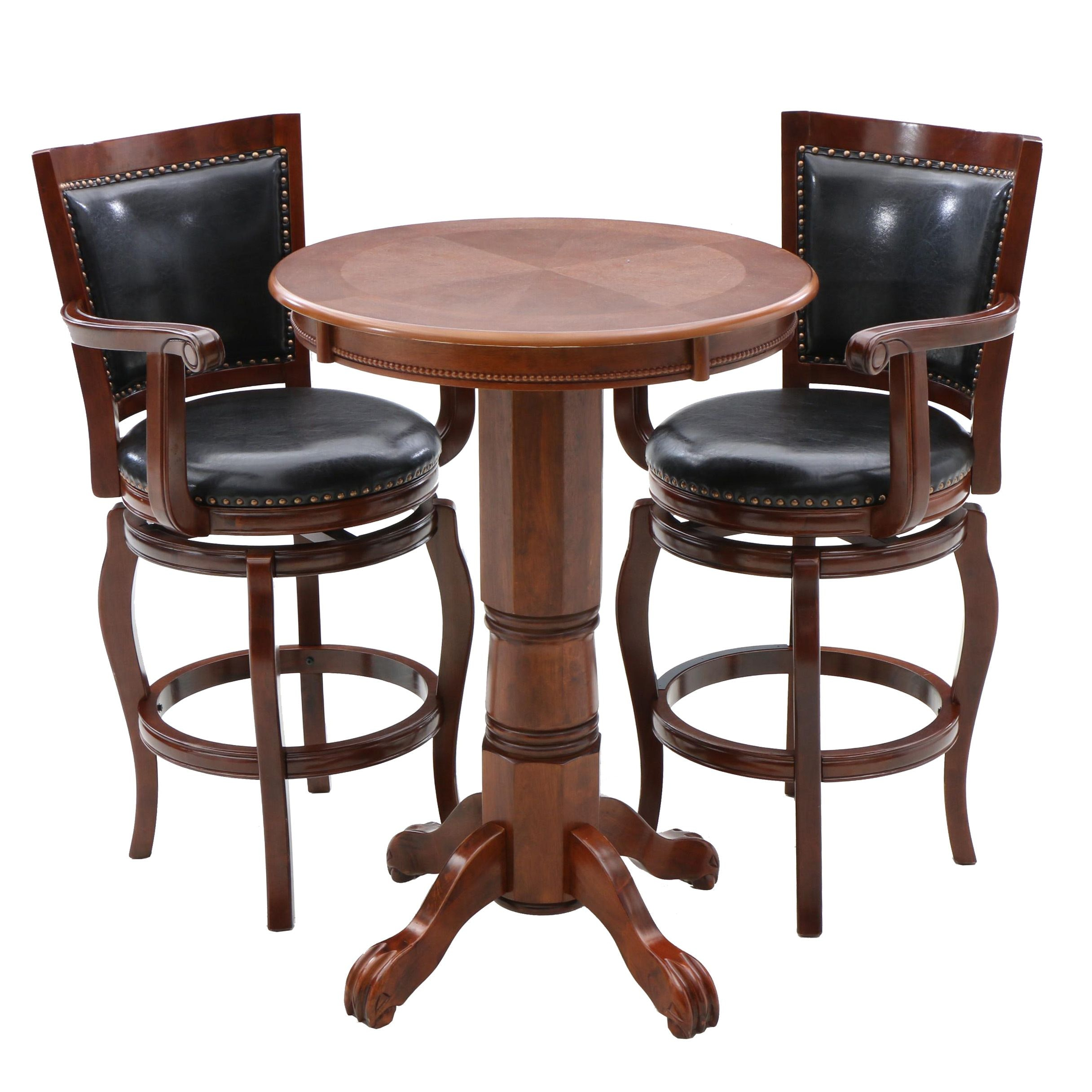 Pub Table and Pair of Swivel Counter Height Arm Chairs