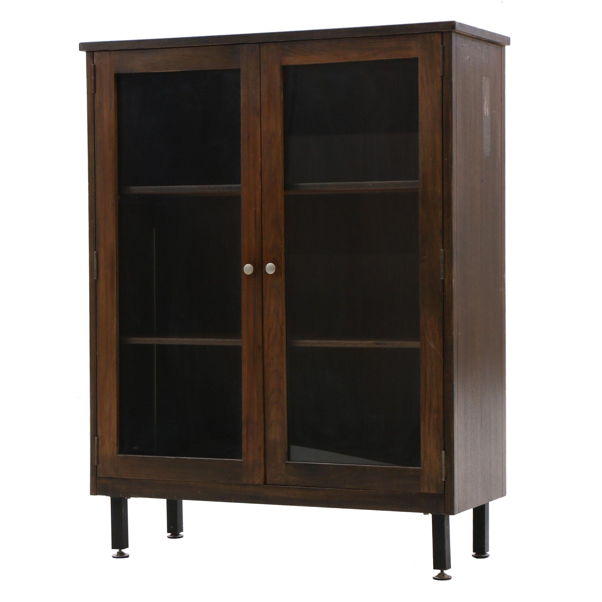 Walnut Finish Display Cabinet