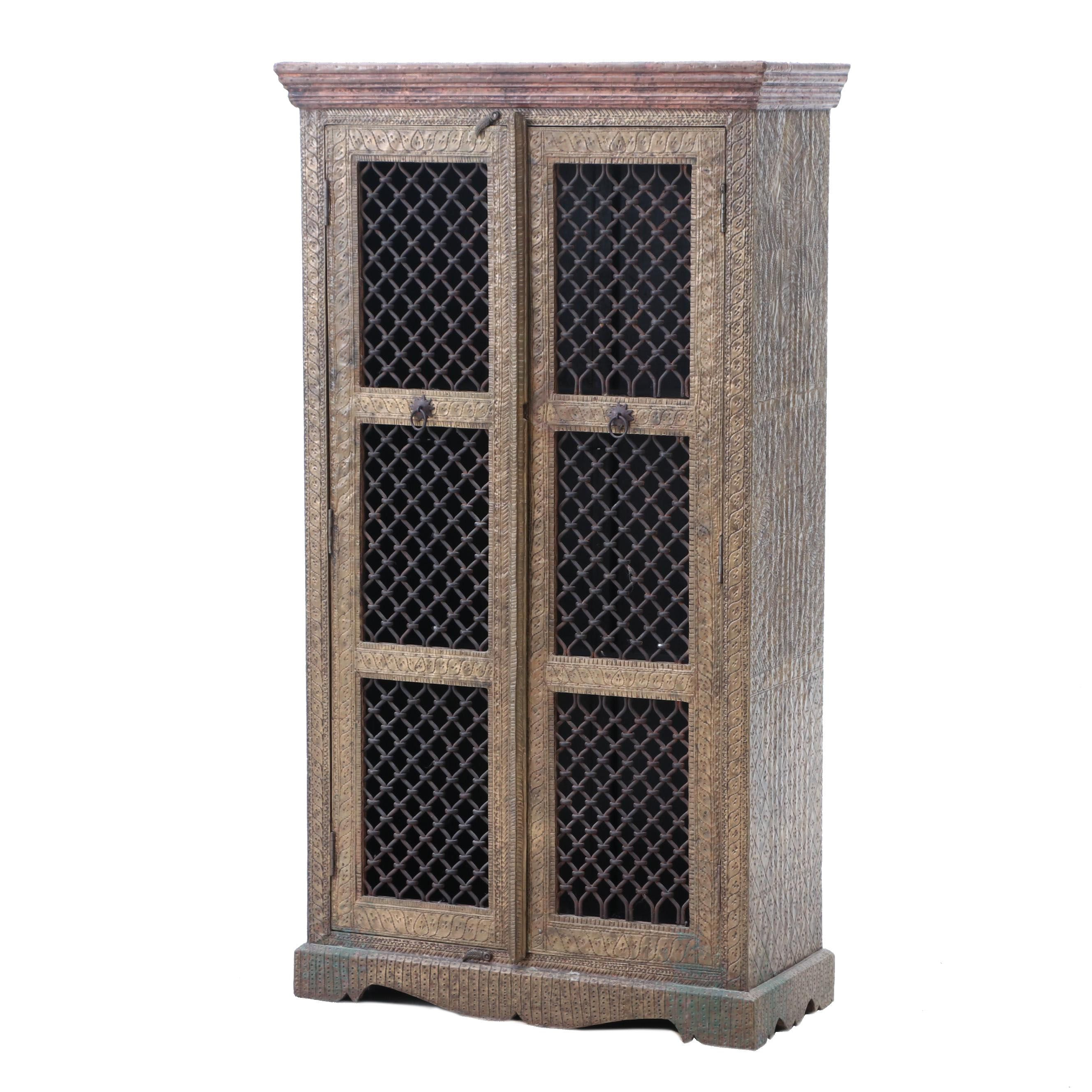 East India Brass Clad Embossed Cabinet