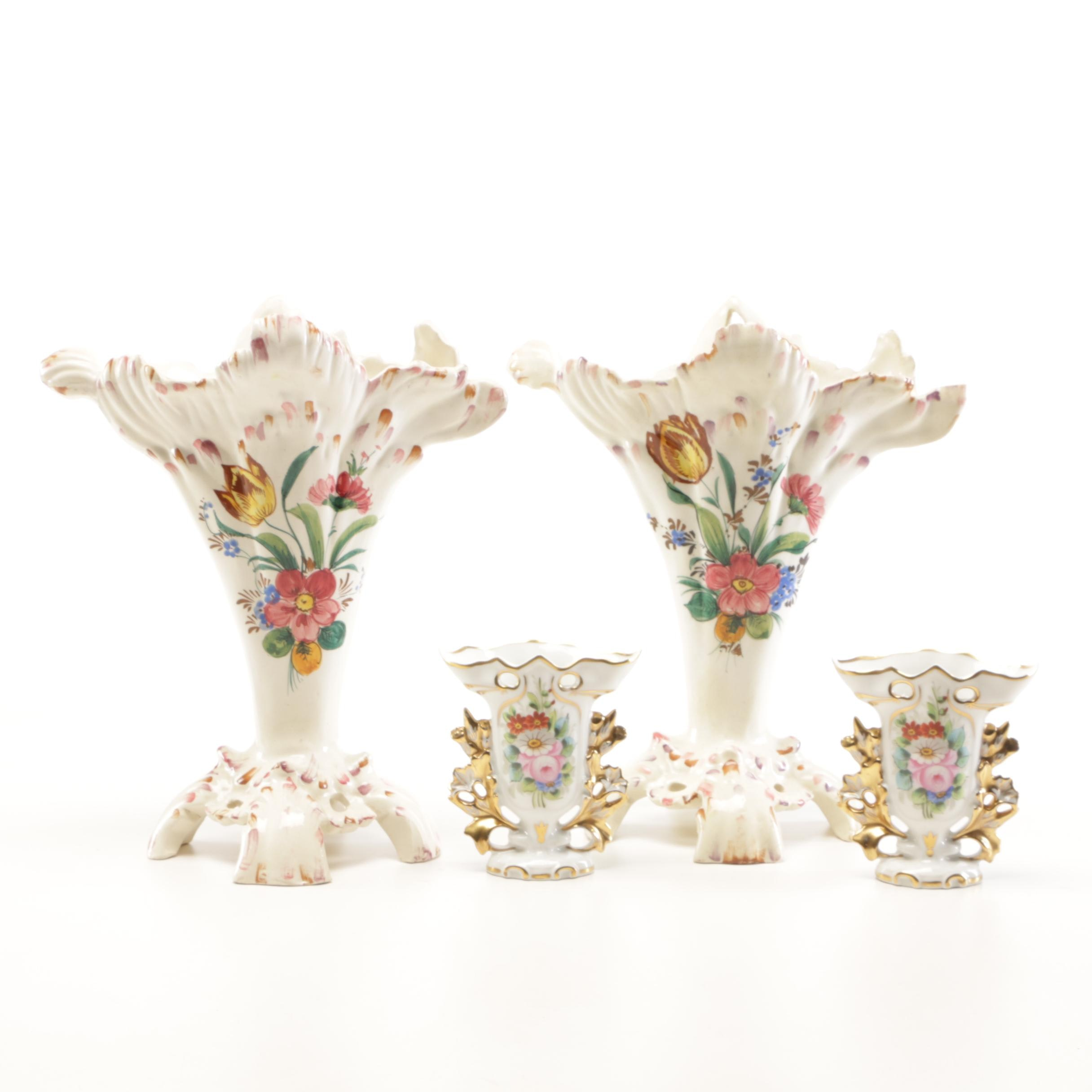 "Decorative Mantel Vases from Italy and ""Vista Alegre"" Brand from Portugal"