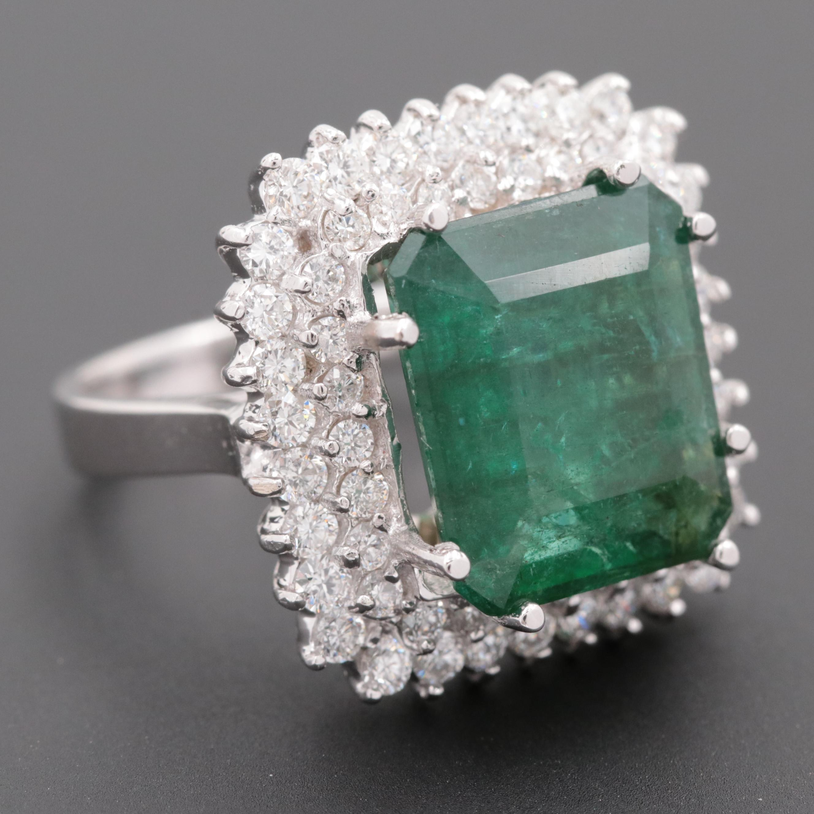18K White Gold 6.51 CT Emerald and 1.50 CTW Diamond Double Halo Ring