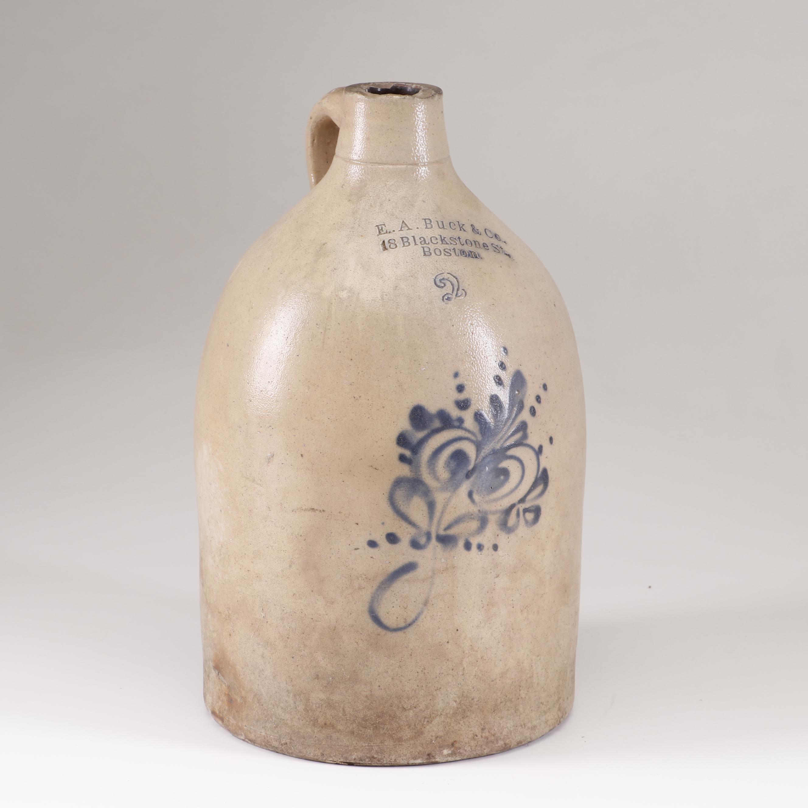E.A. Buck and Company Two Gallon Salt-Glazed Jug, Early 20th Century
