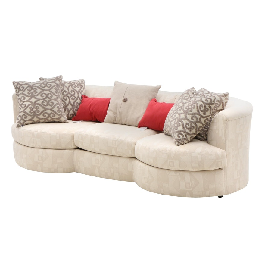 Superb Contemporary White Curved Sofa With Seven Accent Pillows Caraccident5 Cool Chair Designs And Ideas Caraccident5Info