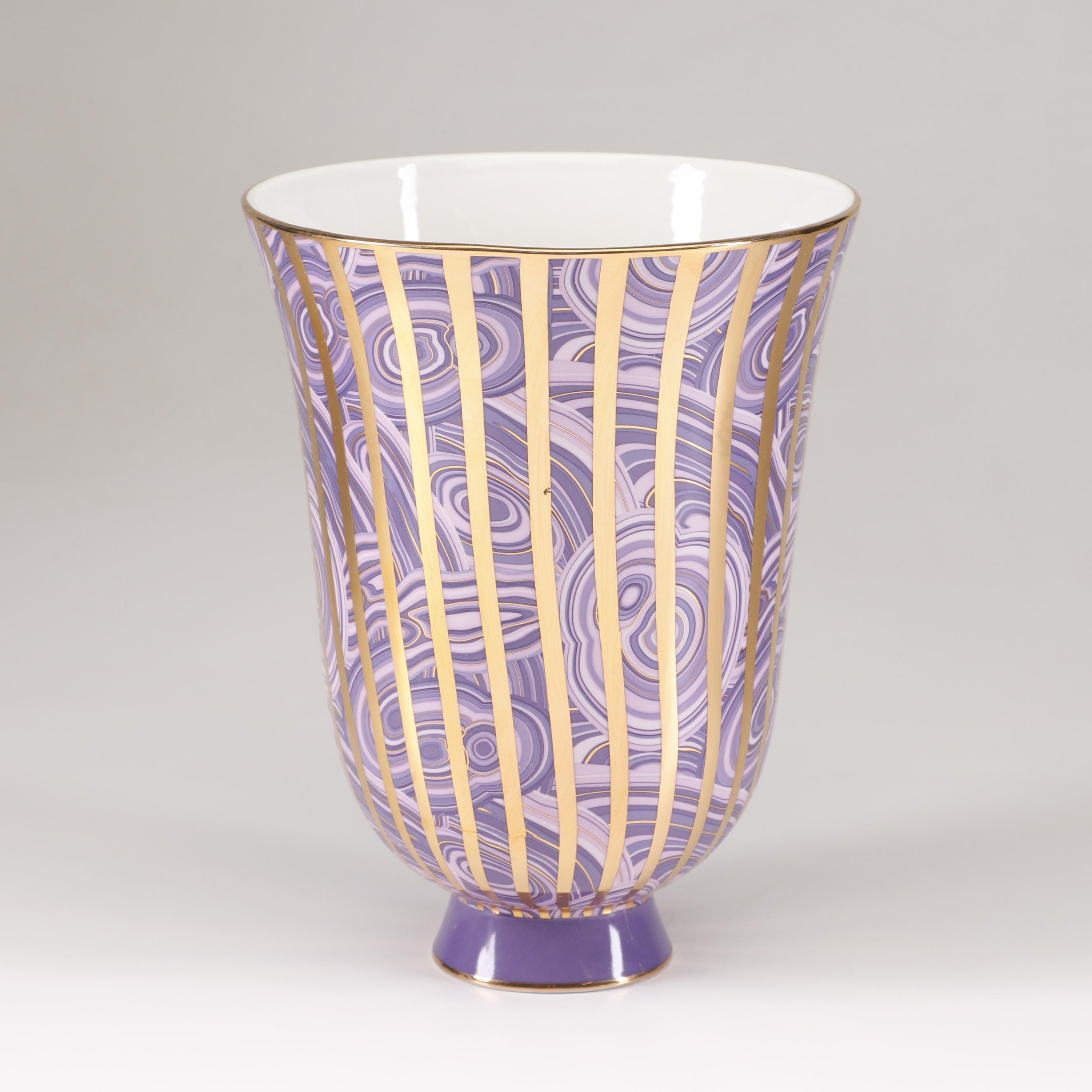 """Jonathon Adler """"Malachite Stripe"""" Porcelain Vase"""