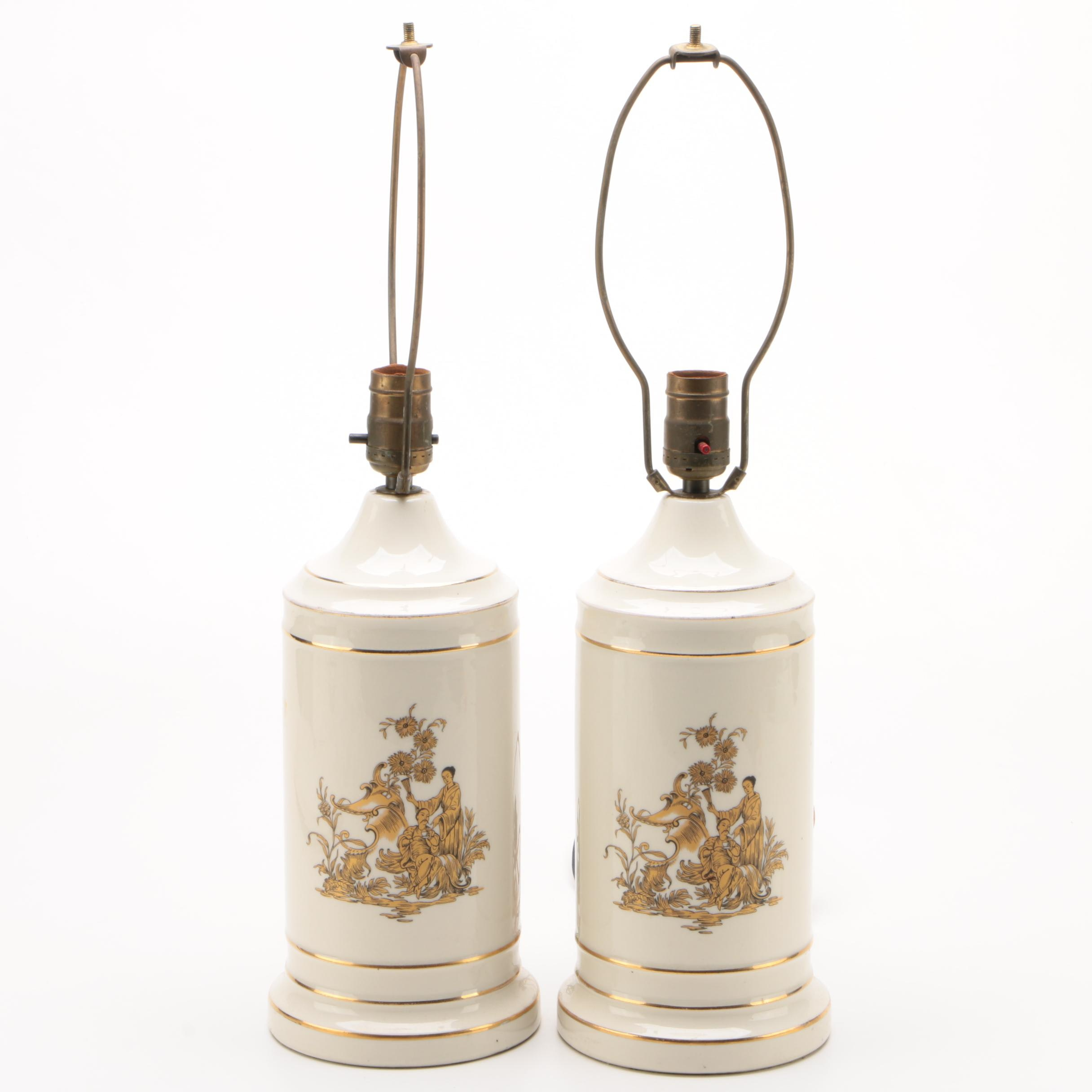 Chinoiserie Gilt Porcelain Table Lamps, Mid-Century