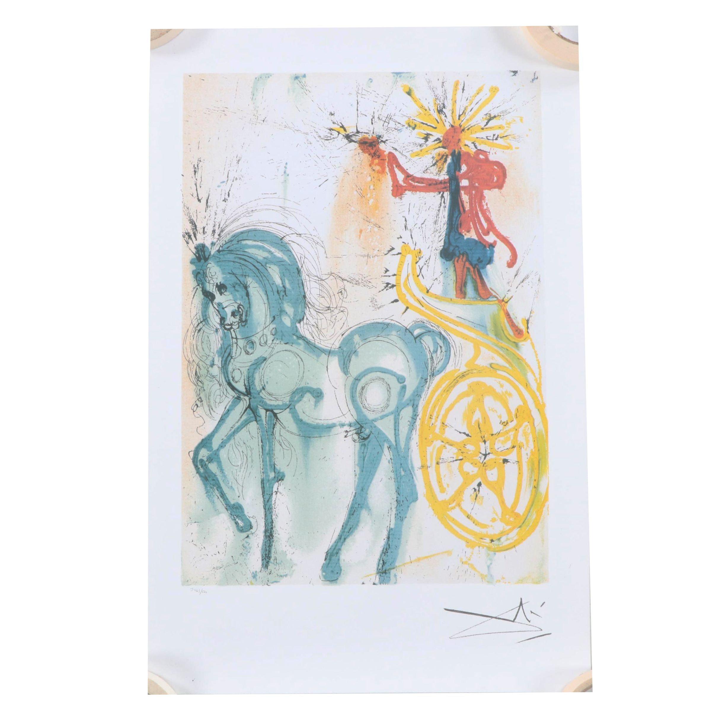 """After Salvador Dali Offset Lithograph """"Le Cheval de Triomphe"""""""