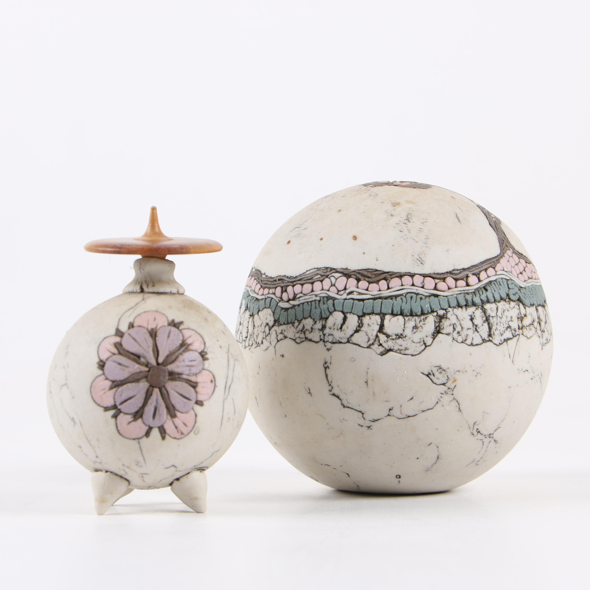 Romilla Batra Handbuilt Porcelain Sphere and Vessel, Late 20th Century