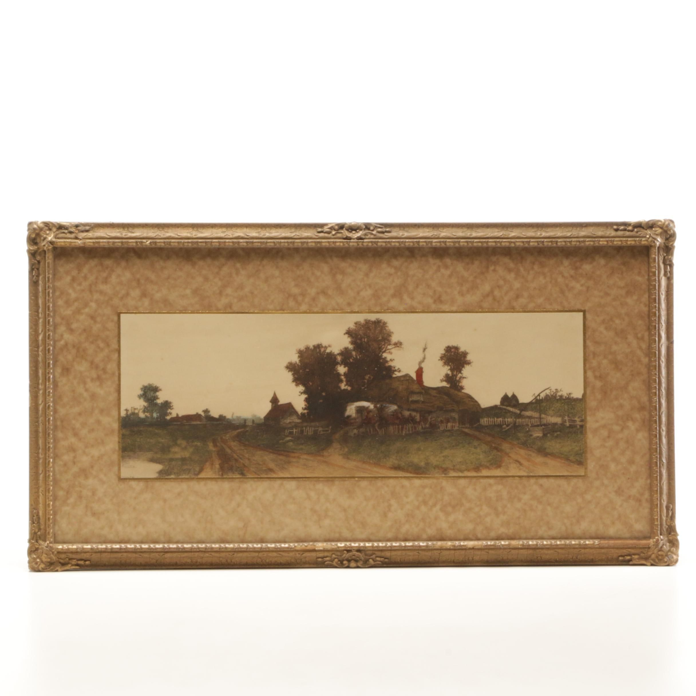 Hand-colored Etching of Pastoral Scene
