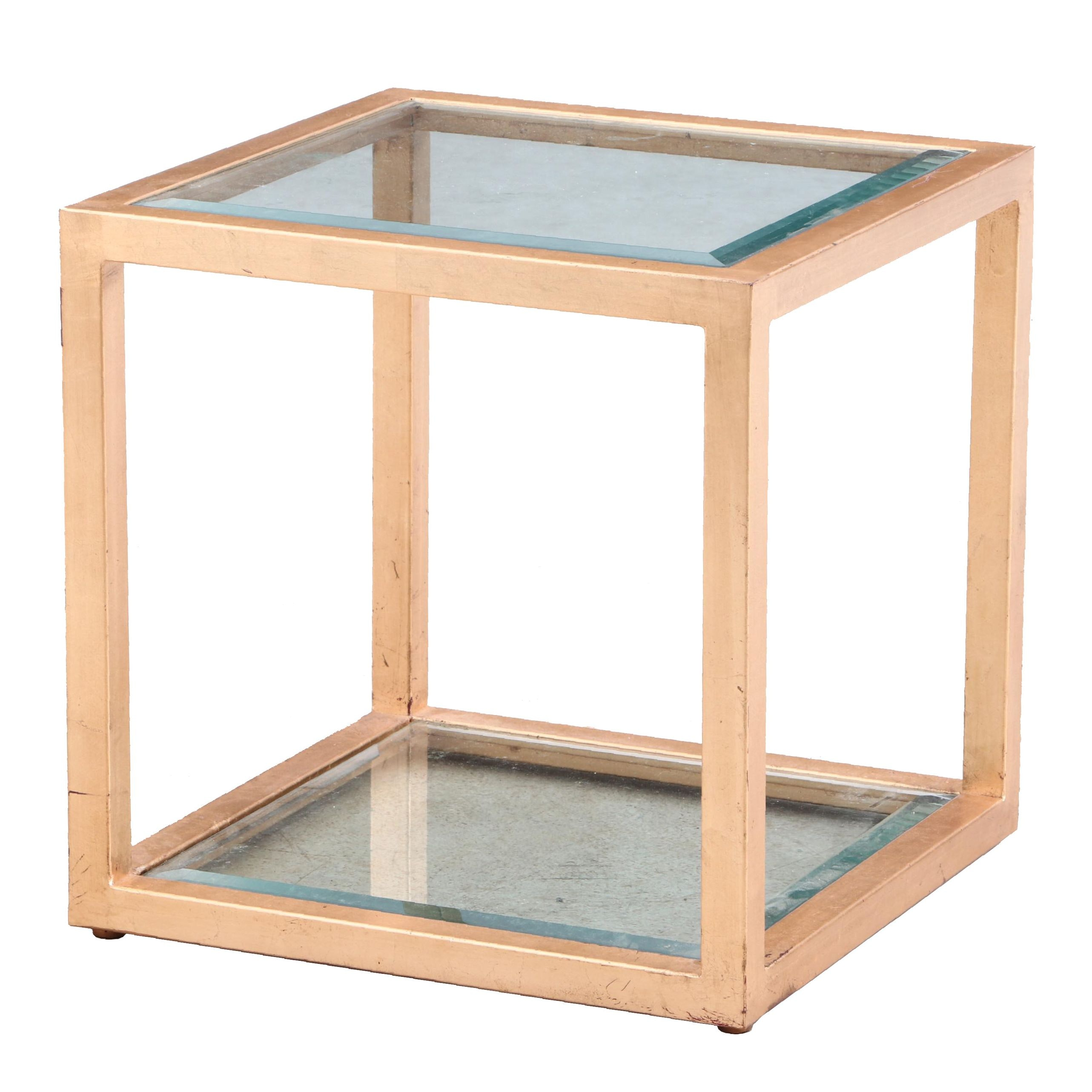 Beveled Glass Top Metal Framed Side Table