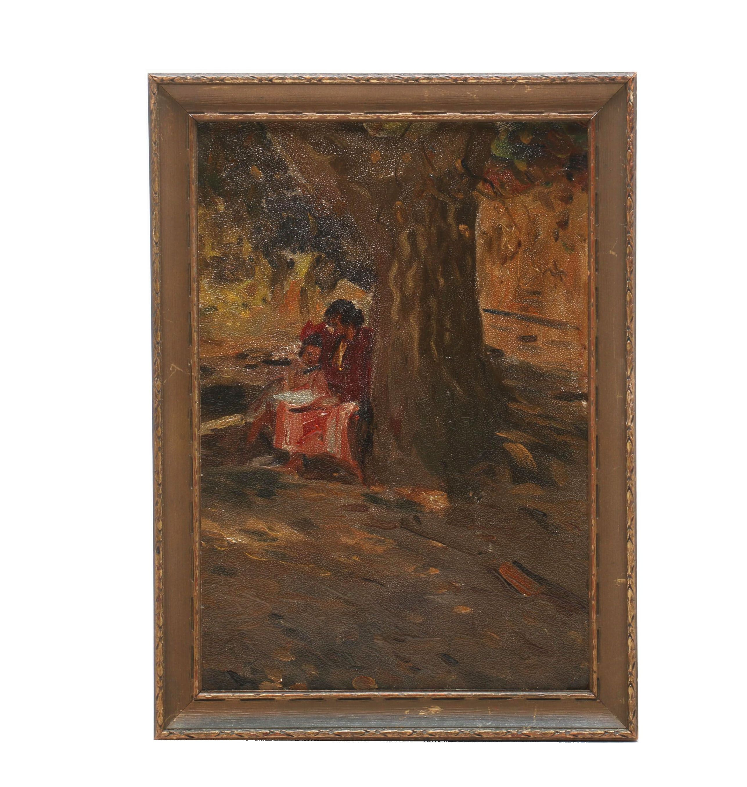 Turn-of-the-Century Oil Painting on Academy Board
