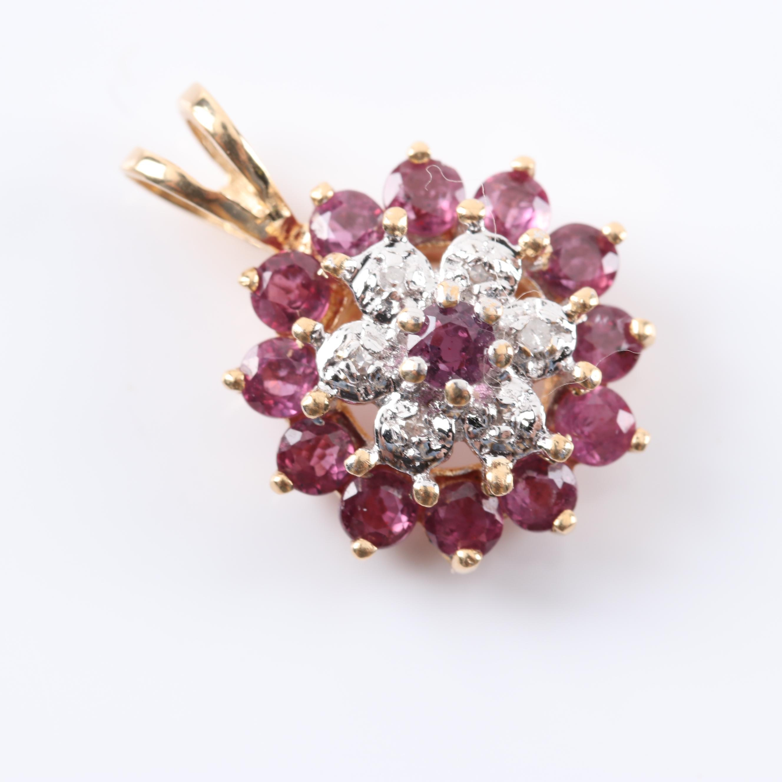 14K Yellow Gold 1.20 CTW Ruby Diamond Pendant