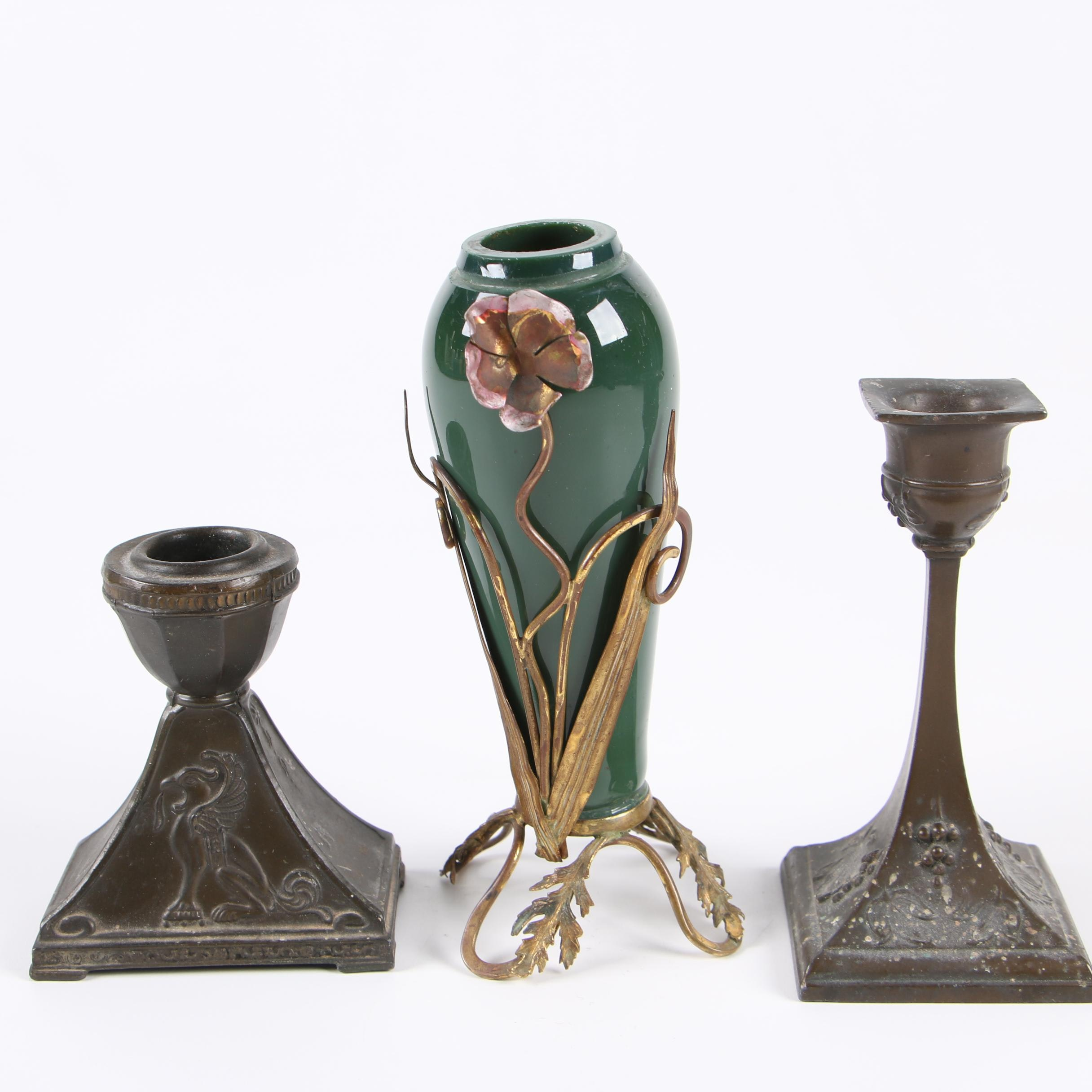 Art Nouveau Ormalu-Mounted Glass Bud Vase with Cast Metal Candlesticks