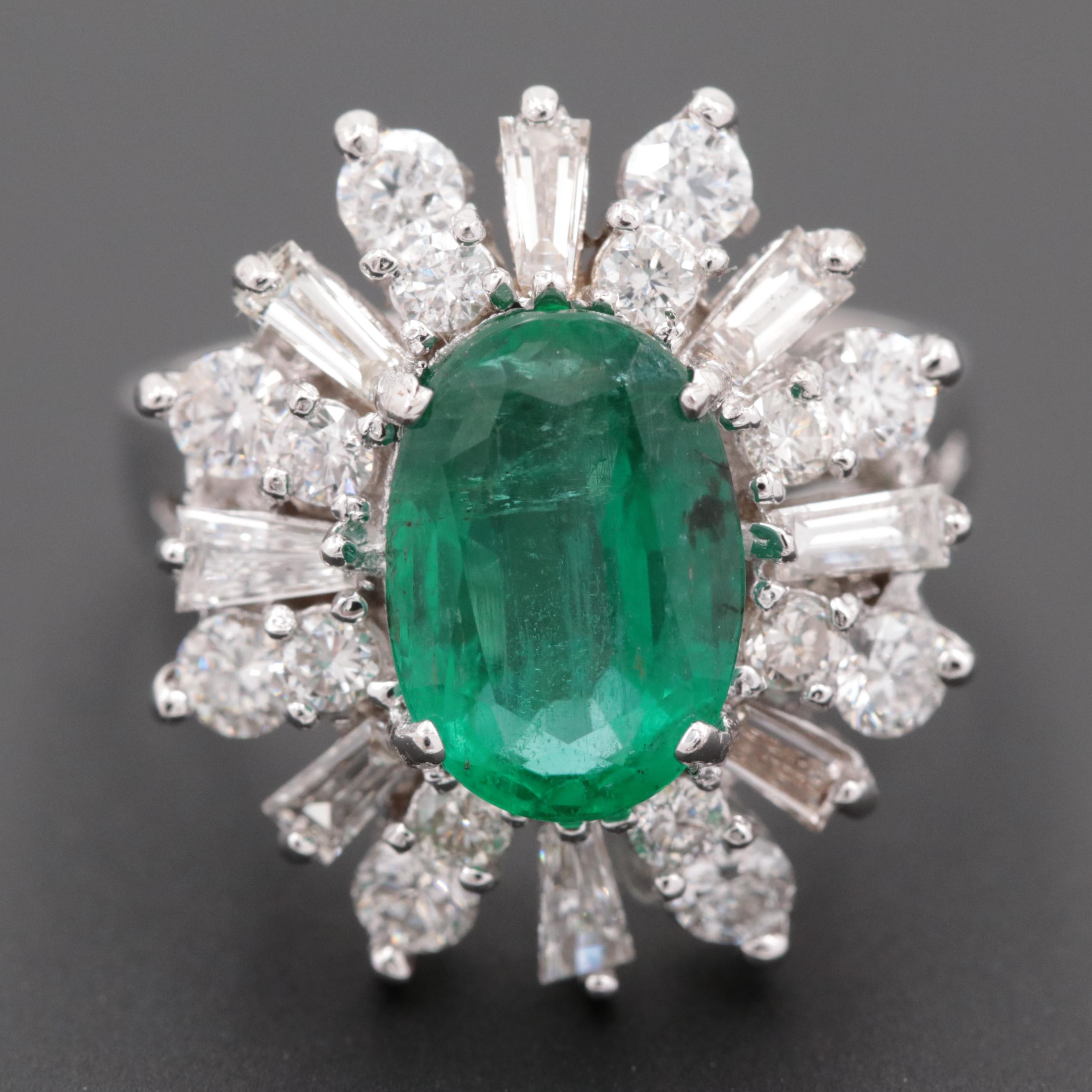 18K White Gold 2.30 CT Emerald and 2.00 CTW Diamond Halo Ring
