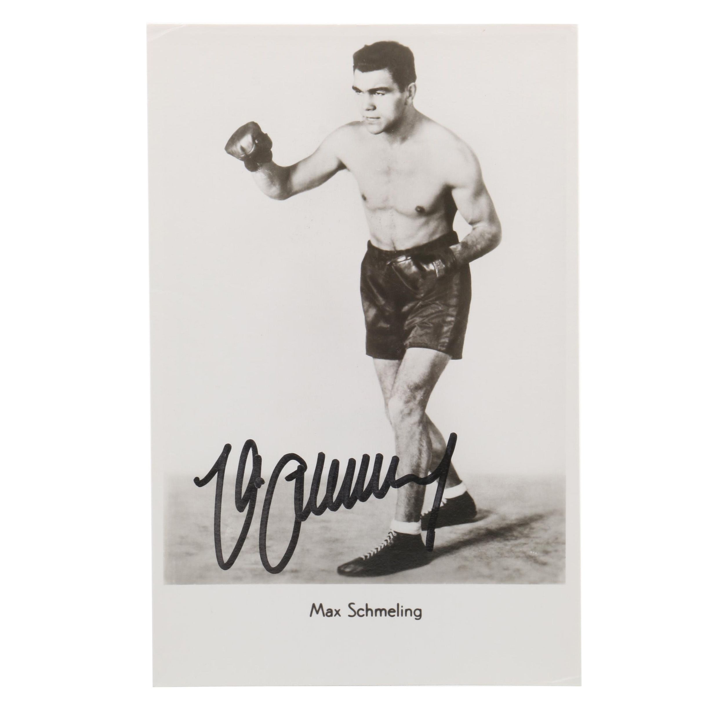 Max Schmeling Signed Black-and-White Photo Card