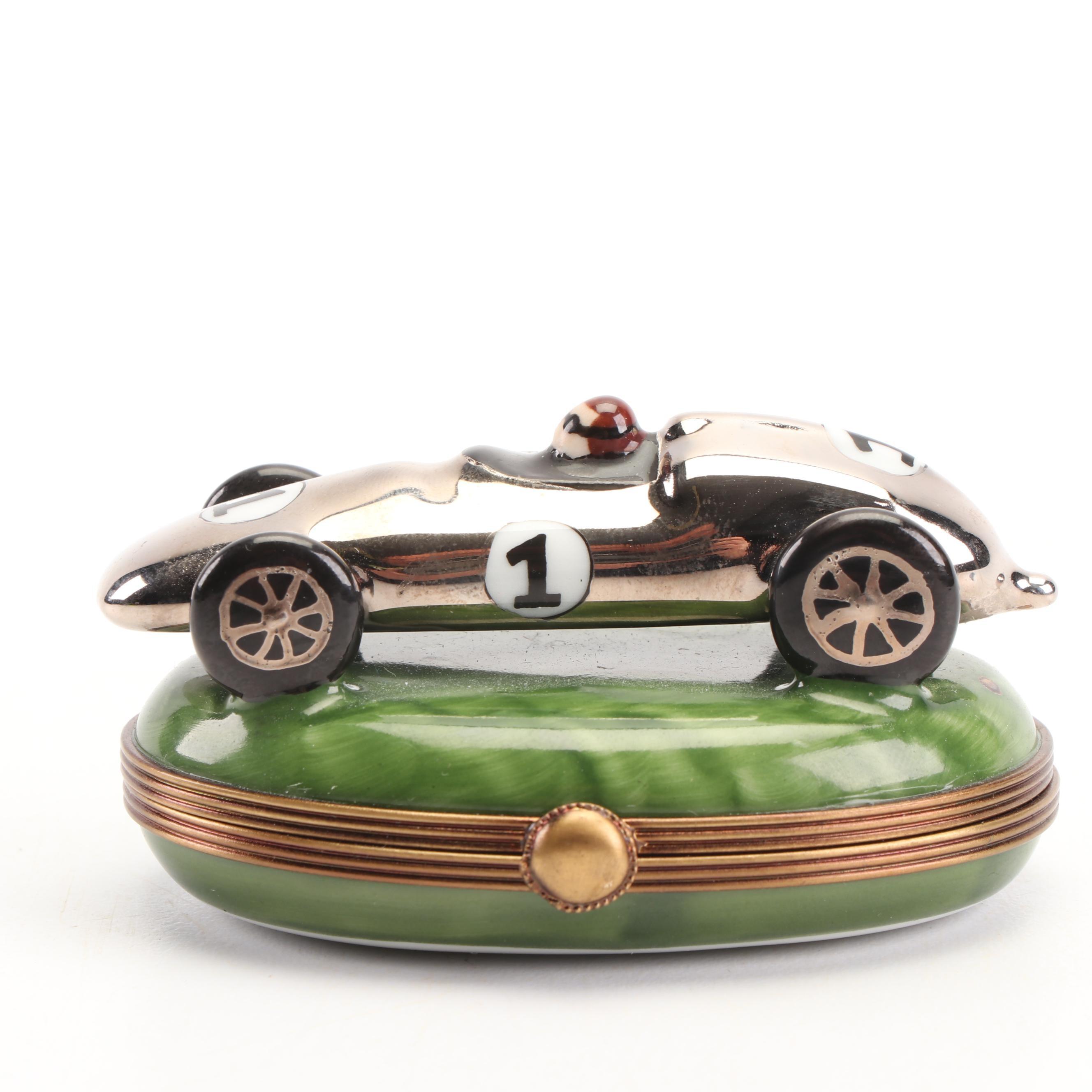 Limoges La Gloriette Hand-Painted Porcelain Racecar Shaped Trinket Box
