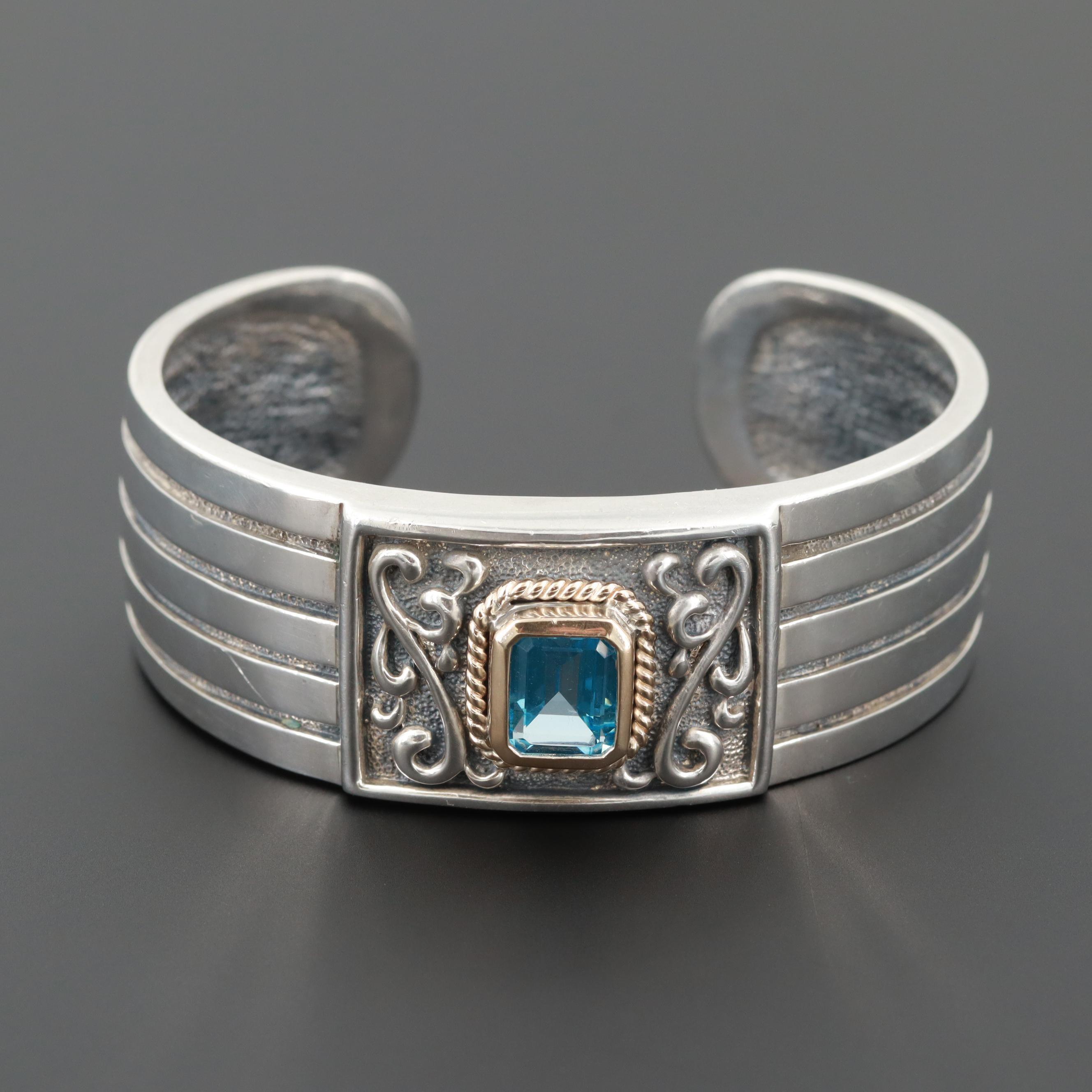 Sterling Silver Topaz Cuff Bracelet With Carved Design