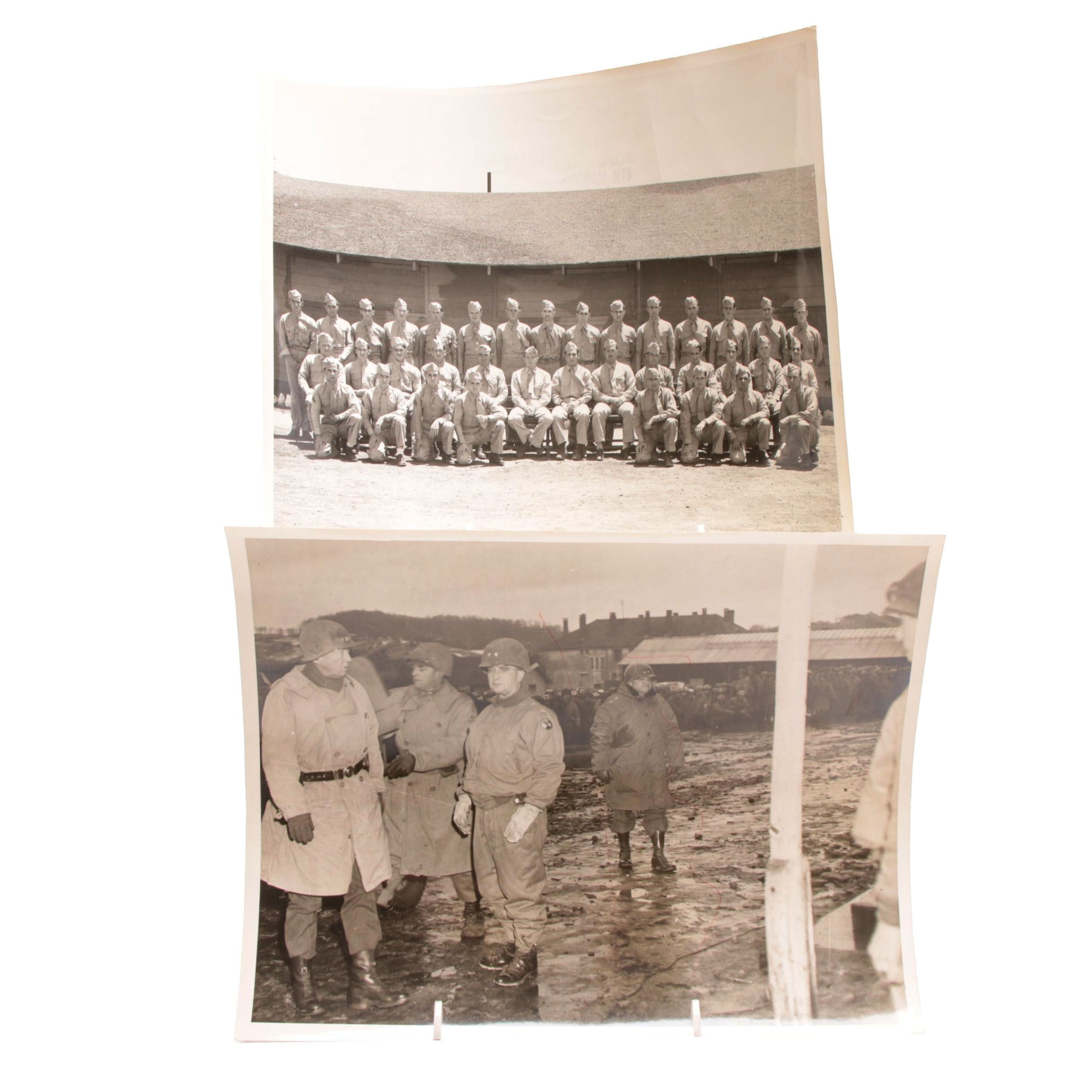 Two WWII Press Photographs With General George Patton