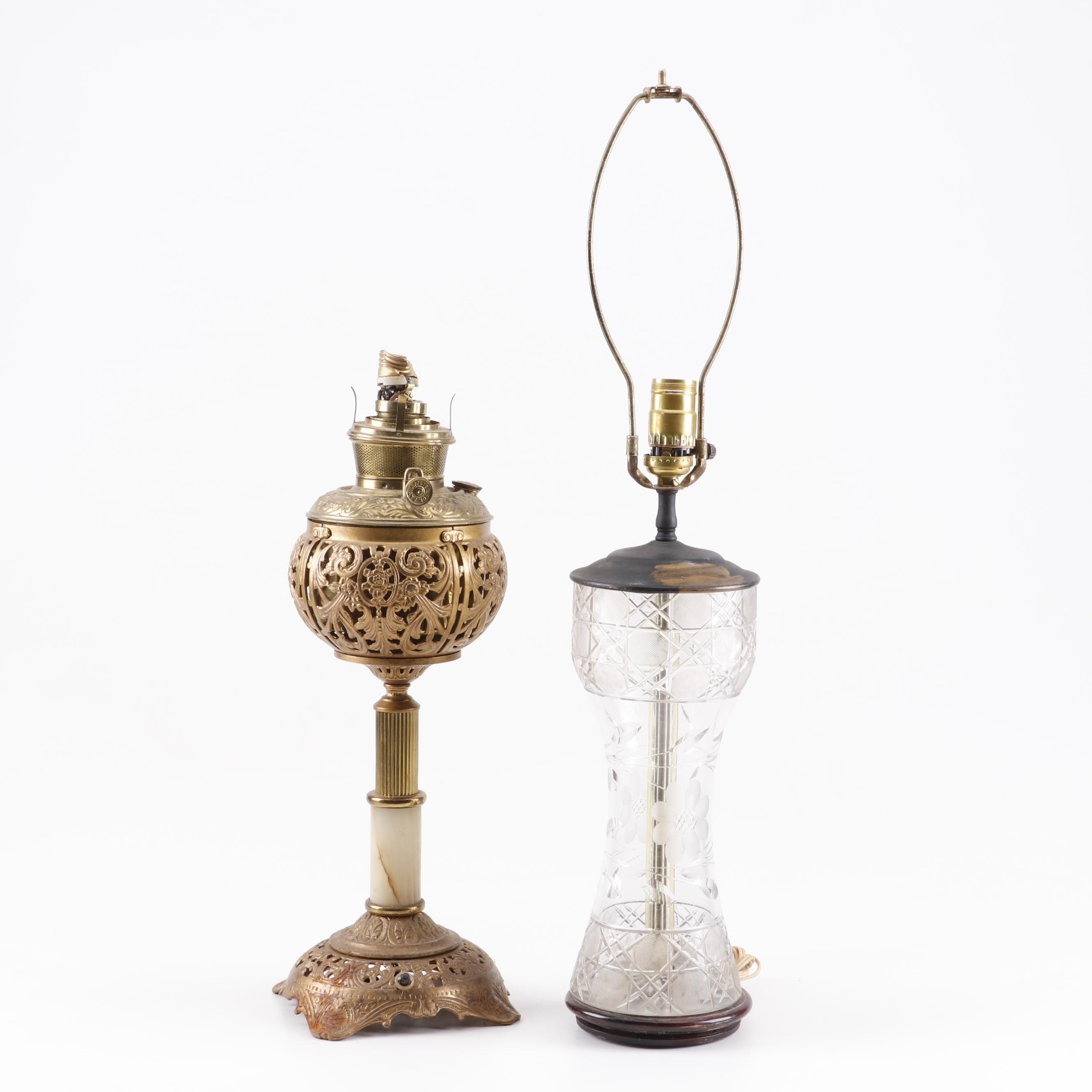 Converted Bradley and Hubbard Oil Lamp with Cut Glass Table Lamp