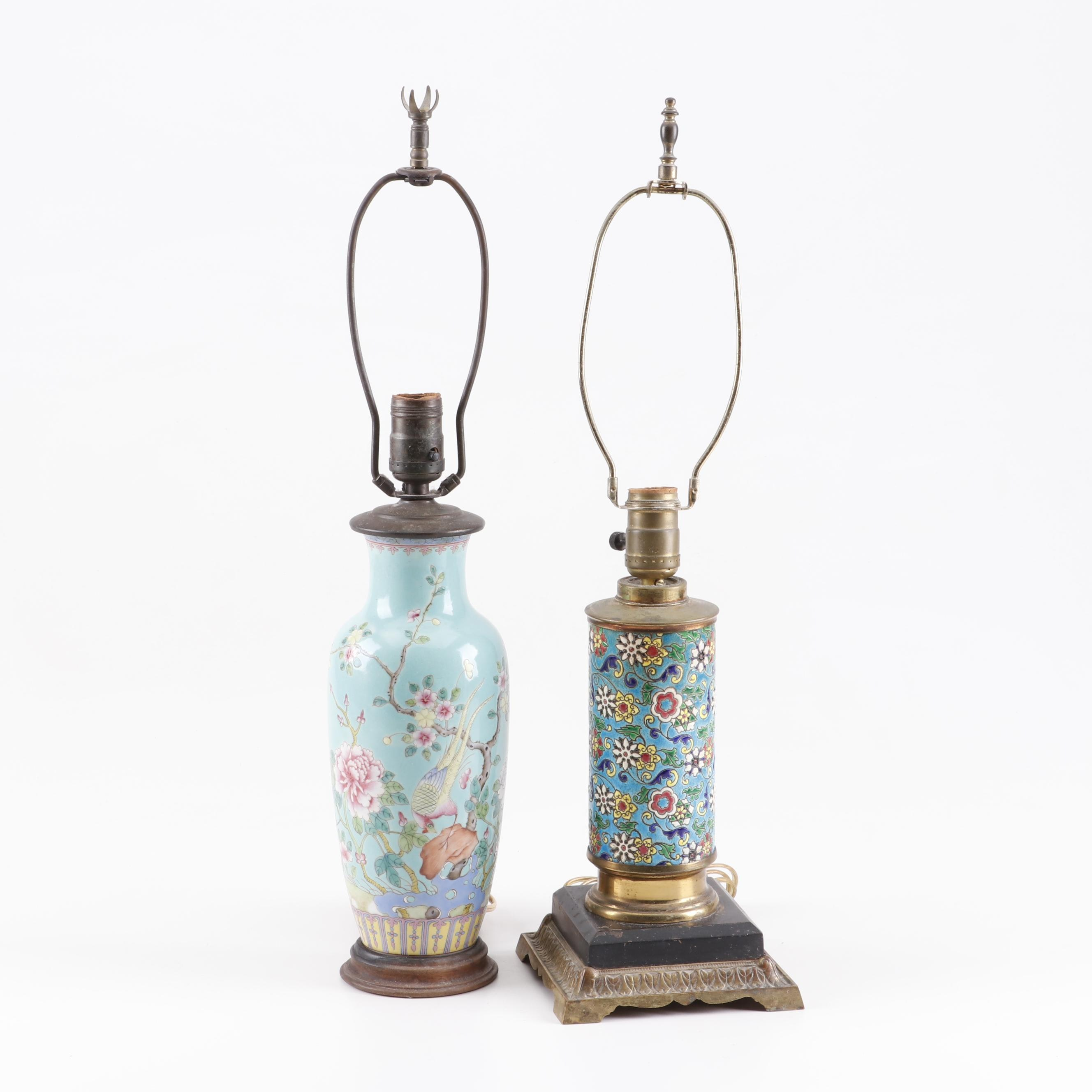 Chinoiserie Ceramic and Enameled Ceramic Table Lamps