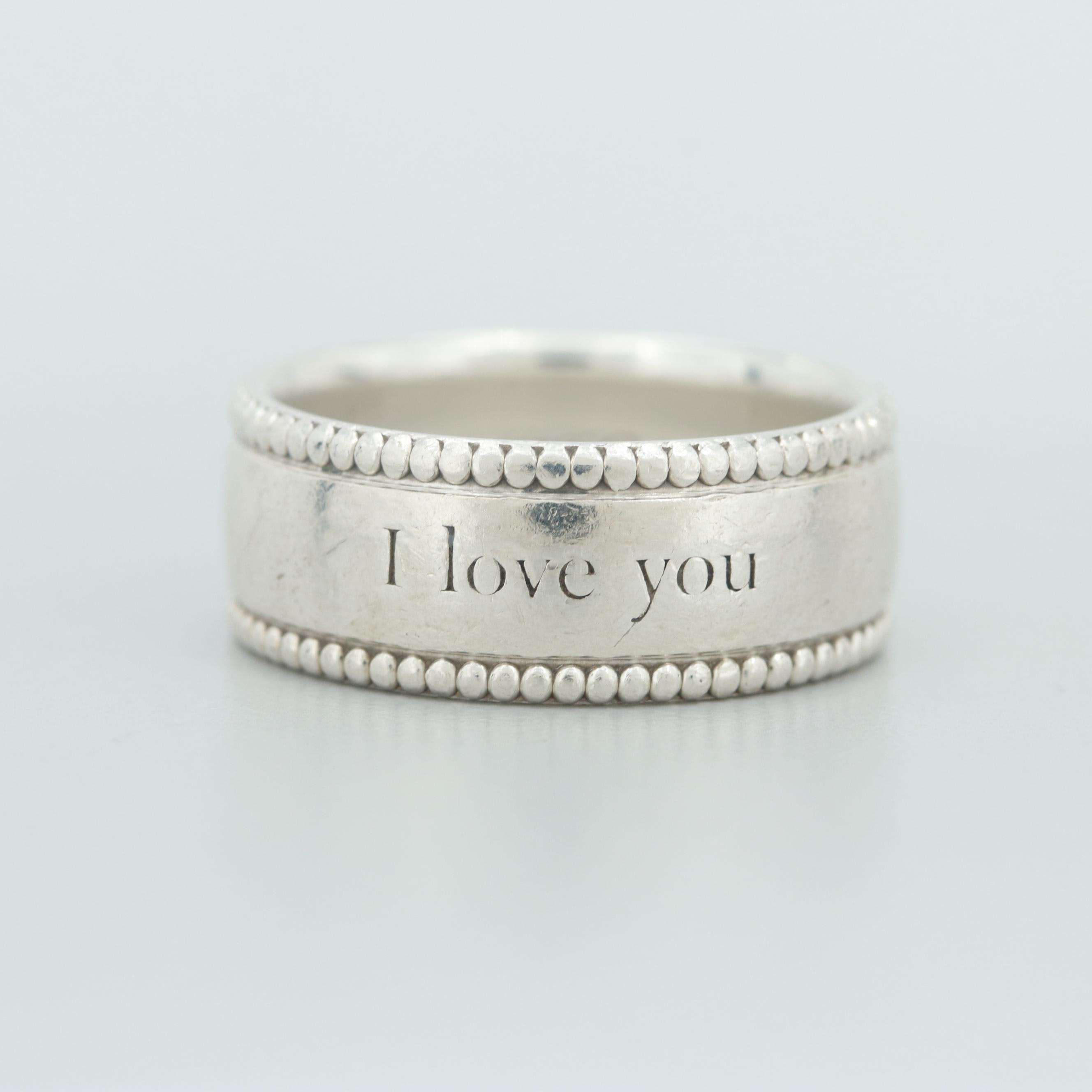 """Tiffany & Co. Sterling Silver """"I Love You"""" Ring"""
