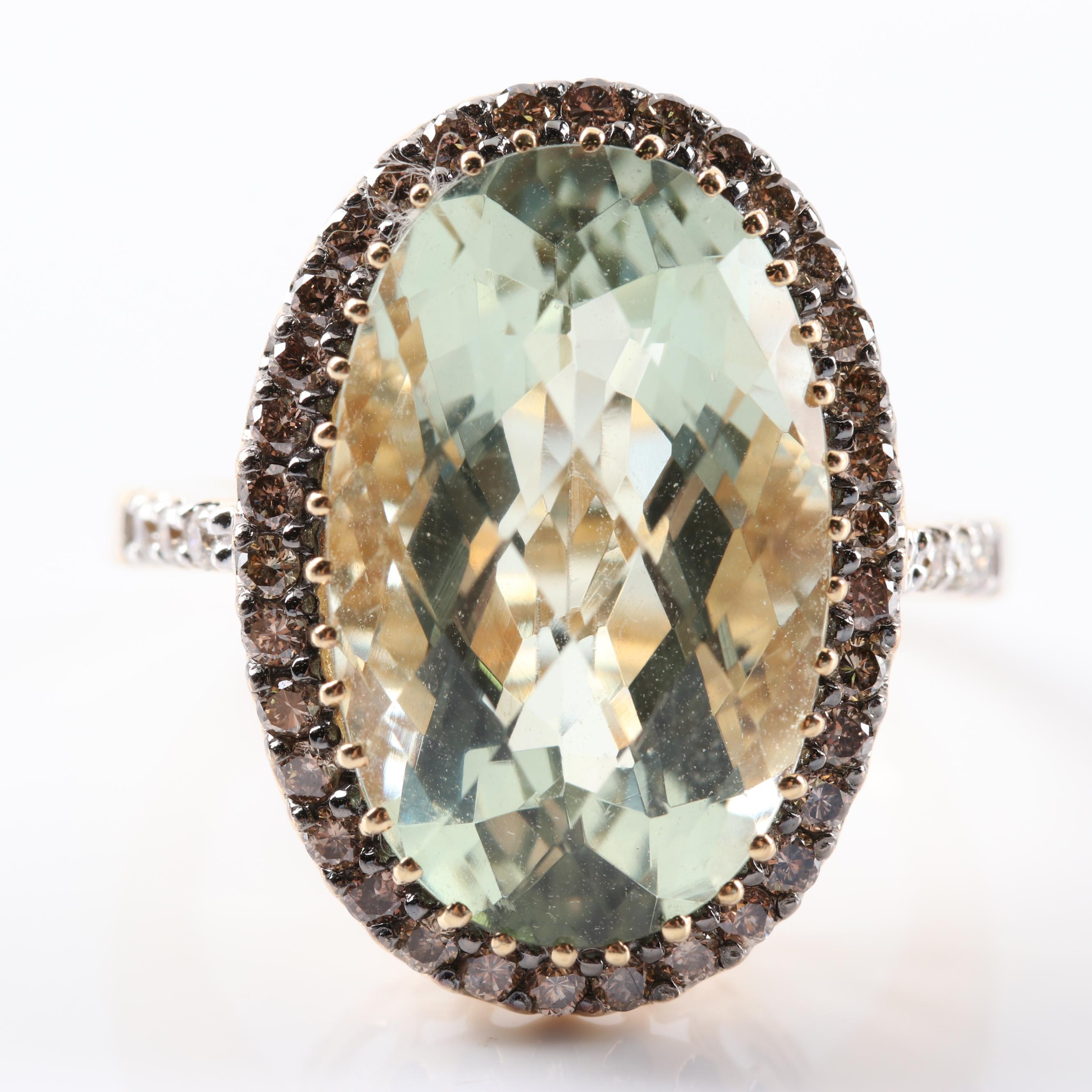 LeVian 14K Yellow Gold Green Quartz and Diamond Ring