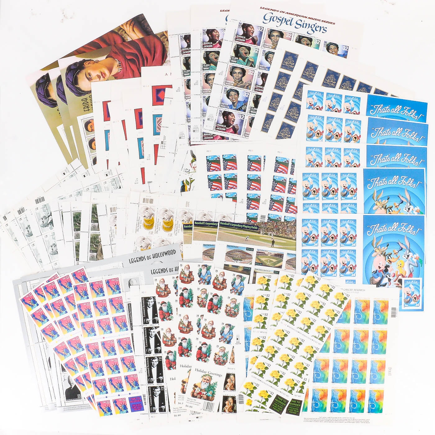 Group of 55 Sheets and Books of U.S. Stamps