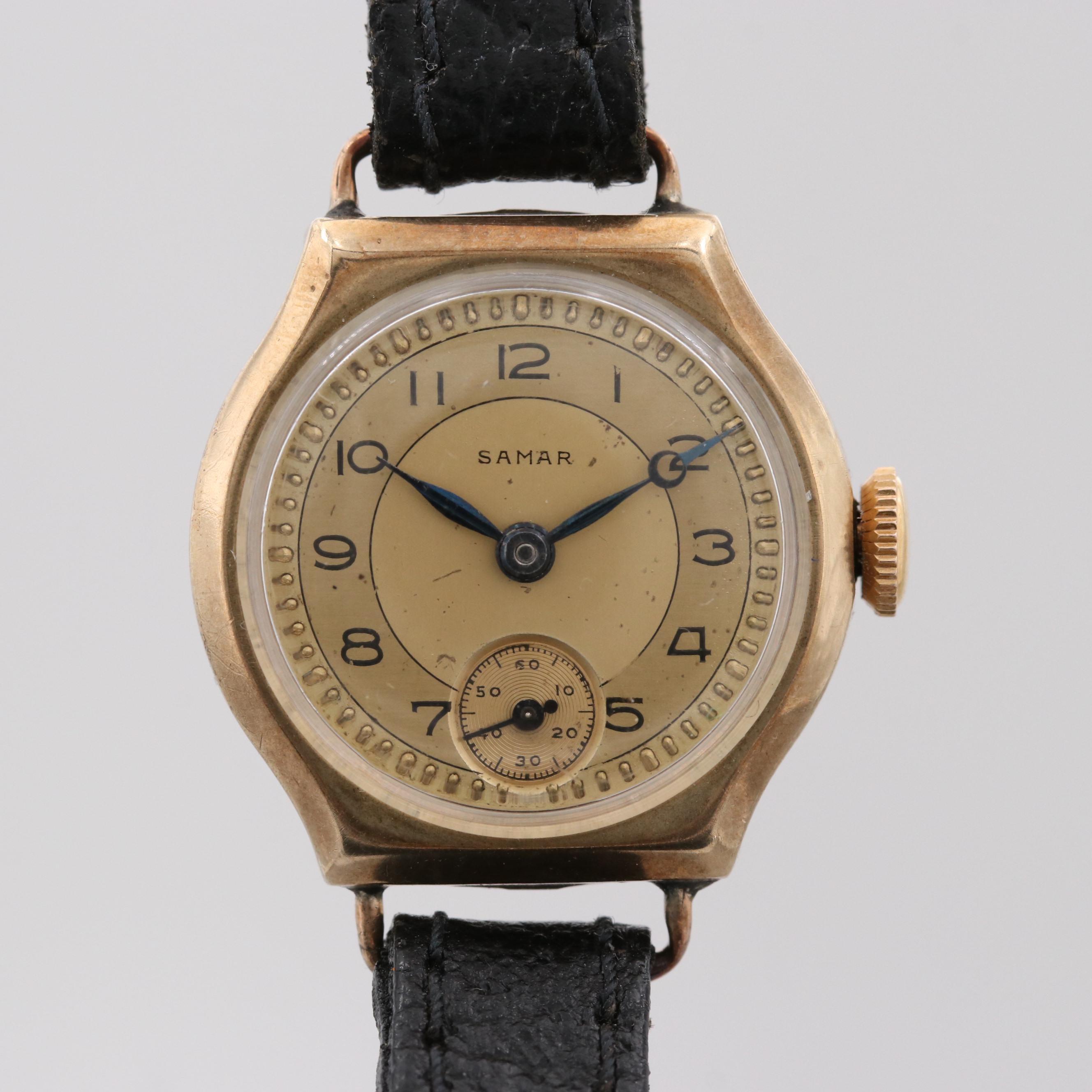 Vintage Samar 9K Yellow Gold Swiss Stem Wind Wristwatch