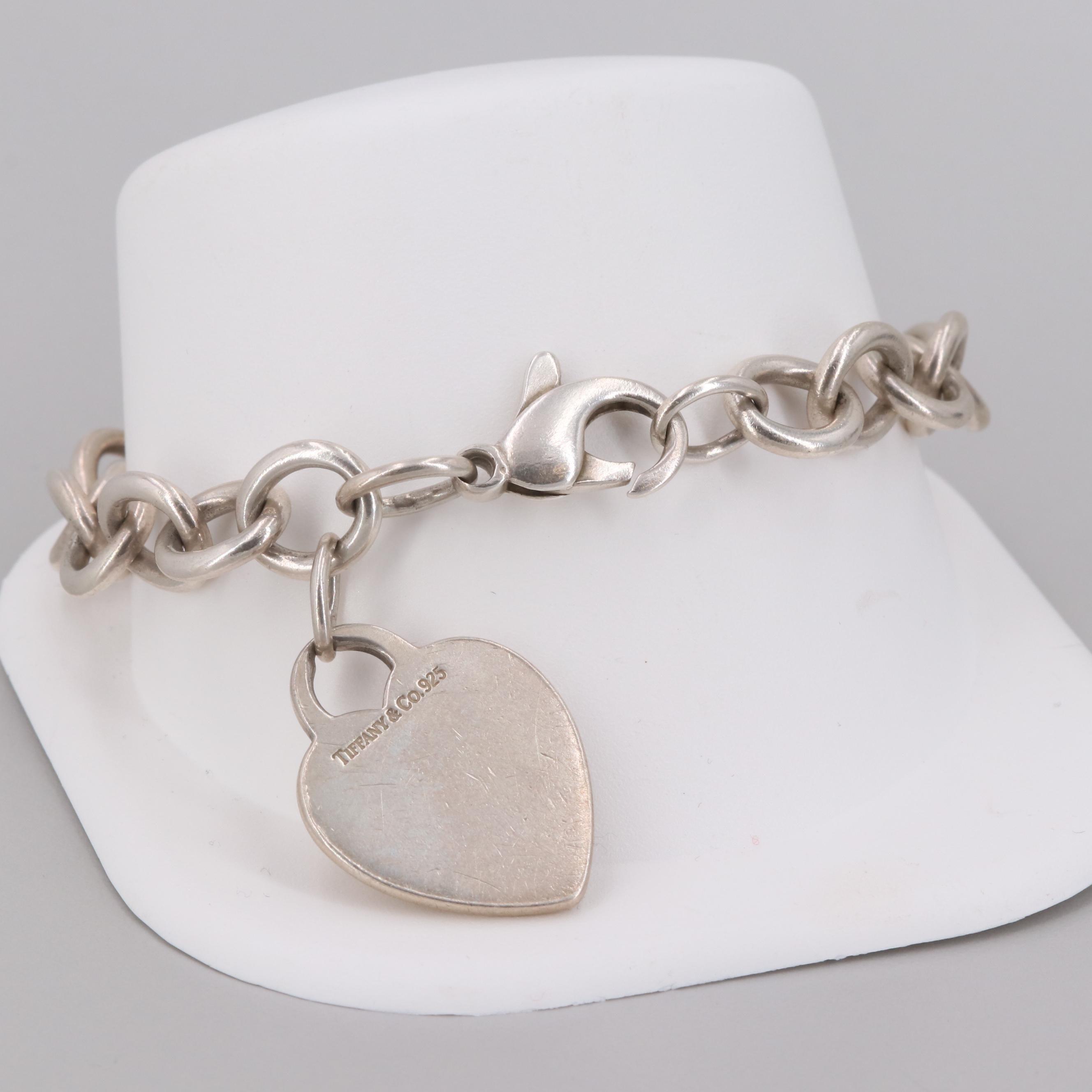 Tiffany & Co. Sterling Silver Heart Shaped Charm Bracelet