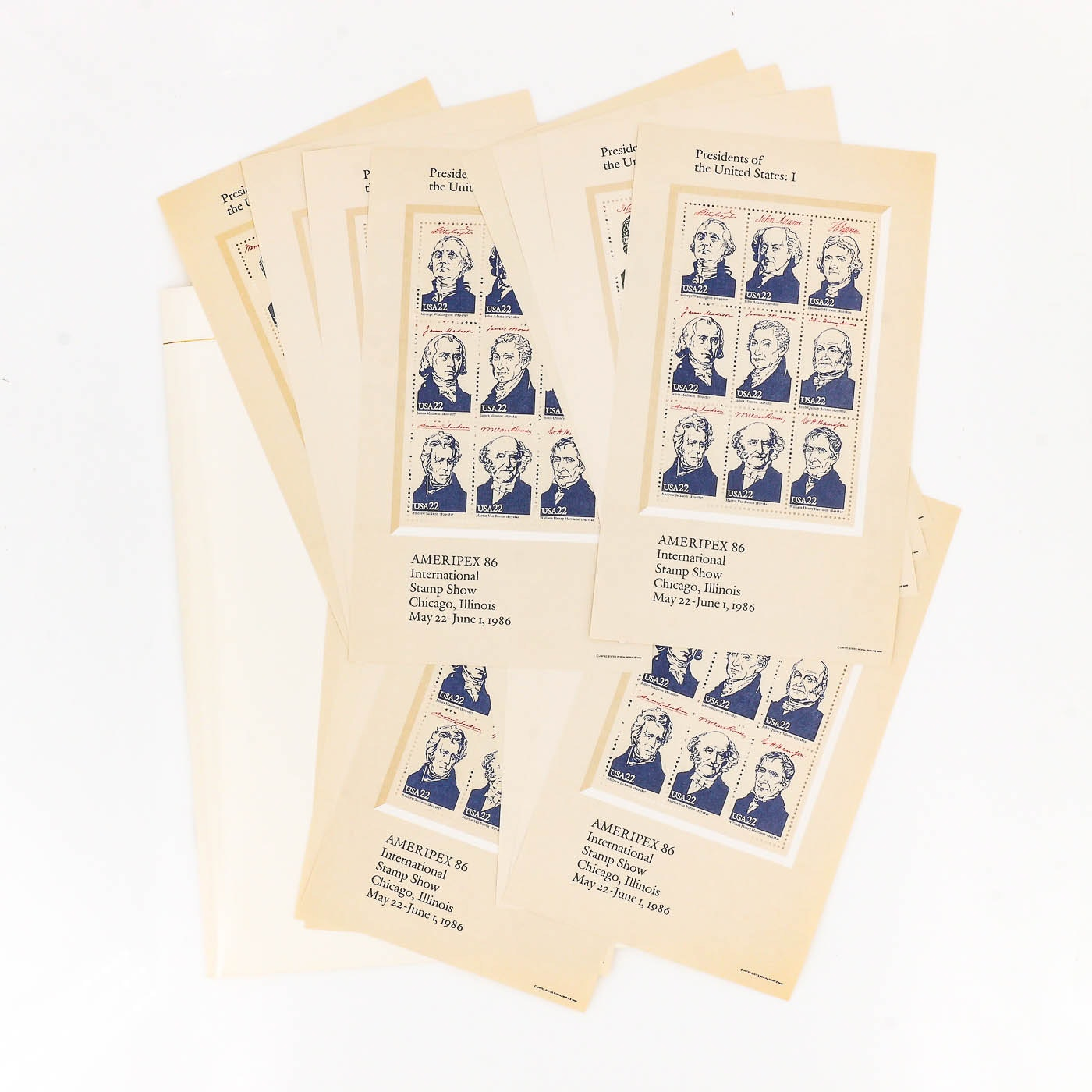Group of Four Ameripex 86 Presidents of the U.S. Stamp Sets