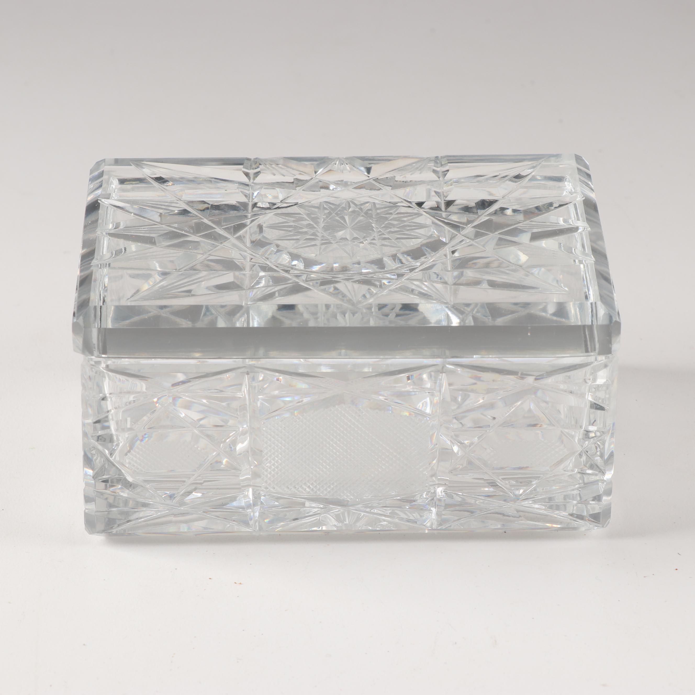 Crystal Cut Glass Lidded Trinket Box