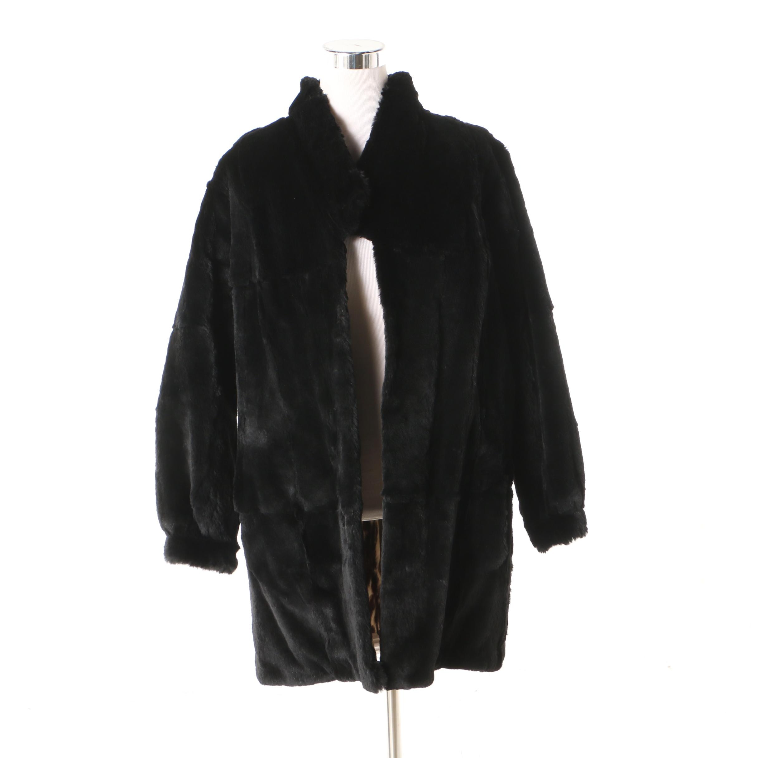 Women's Dyed Sheared Beaver Coat with Leopard Print Rabbit Fur Lining