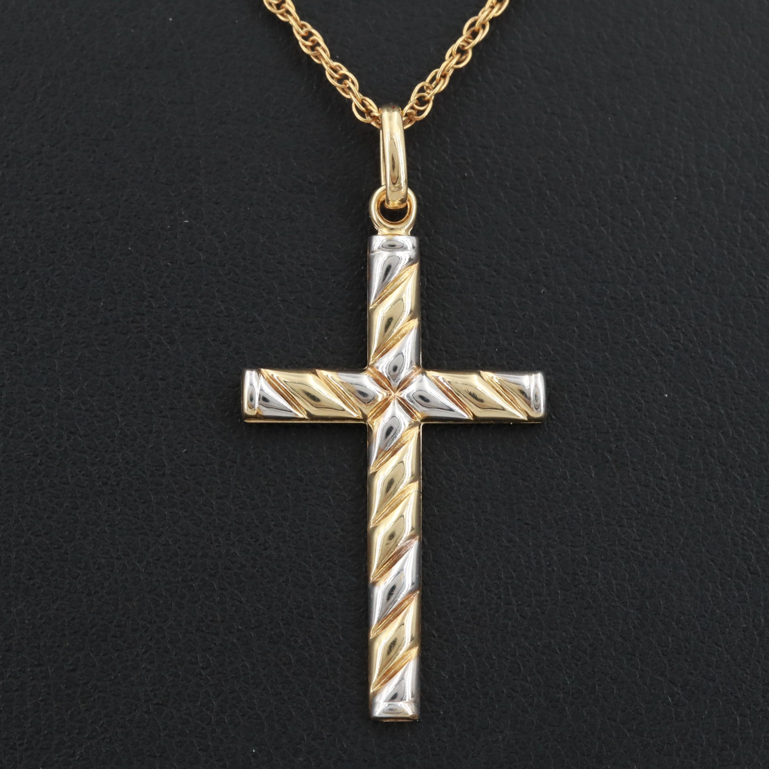 14K Yellow and White Gold Cross Pendant Necklace