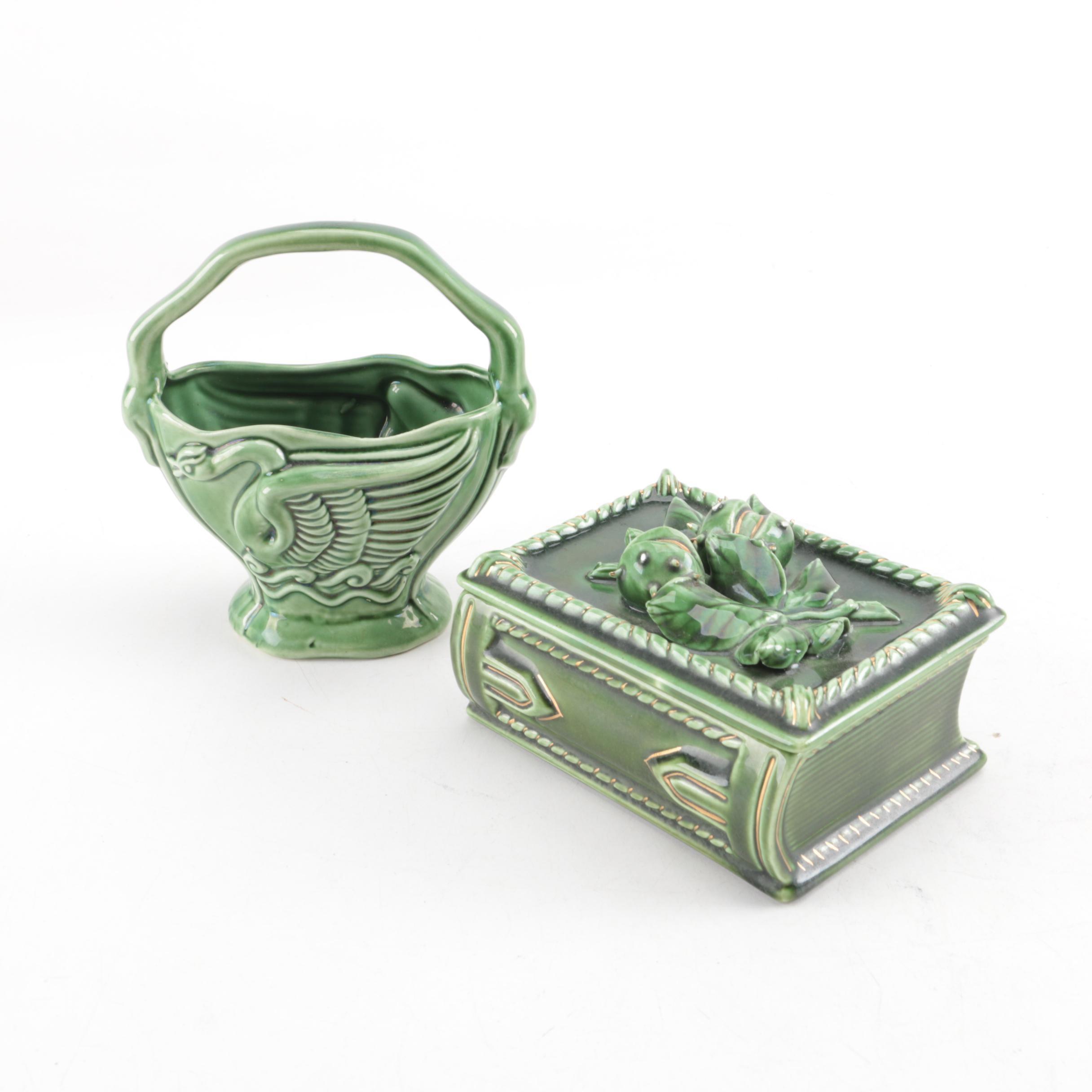 Mid-Century Ceramic Box and Basket Vase