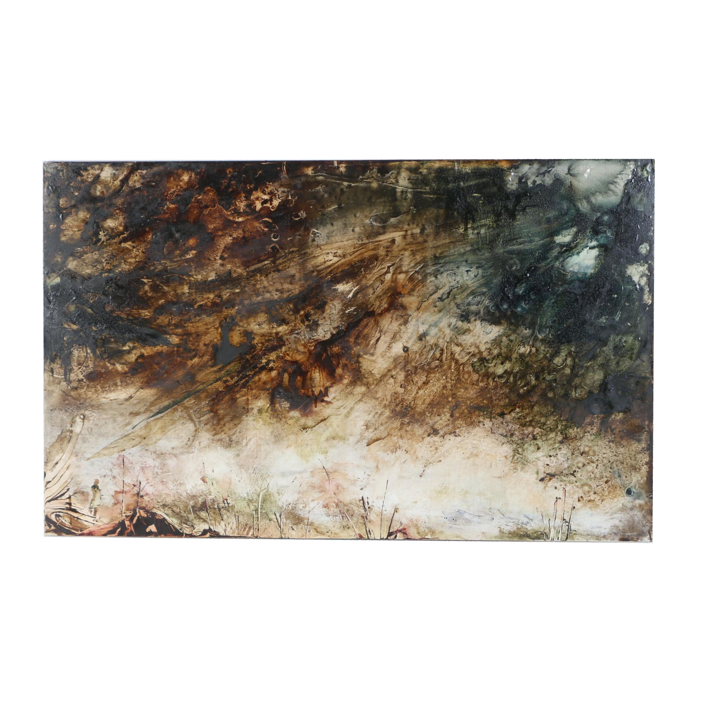 "Anthony Elech Abstract Oil Painting ""Turner on a Hillside"""