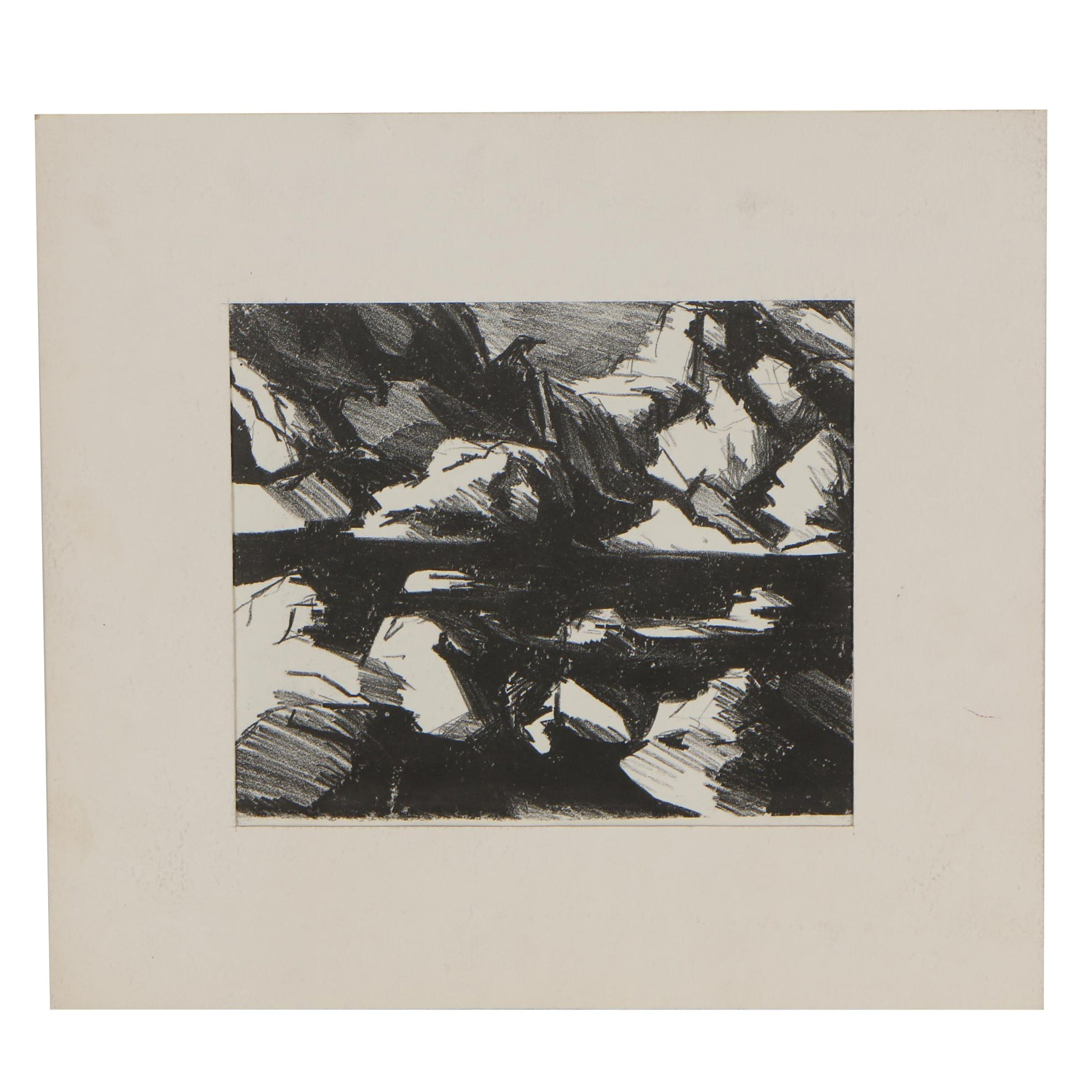 Darrel Hughes Lithograph of Abstract Landscape