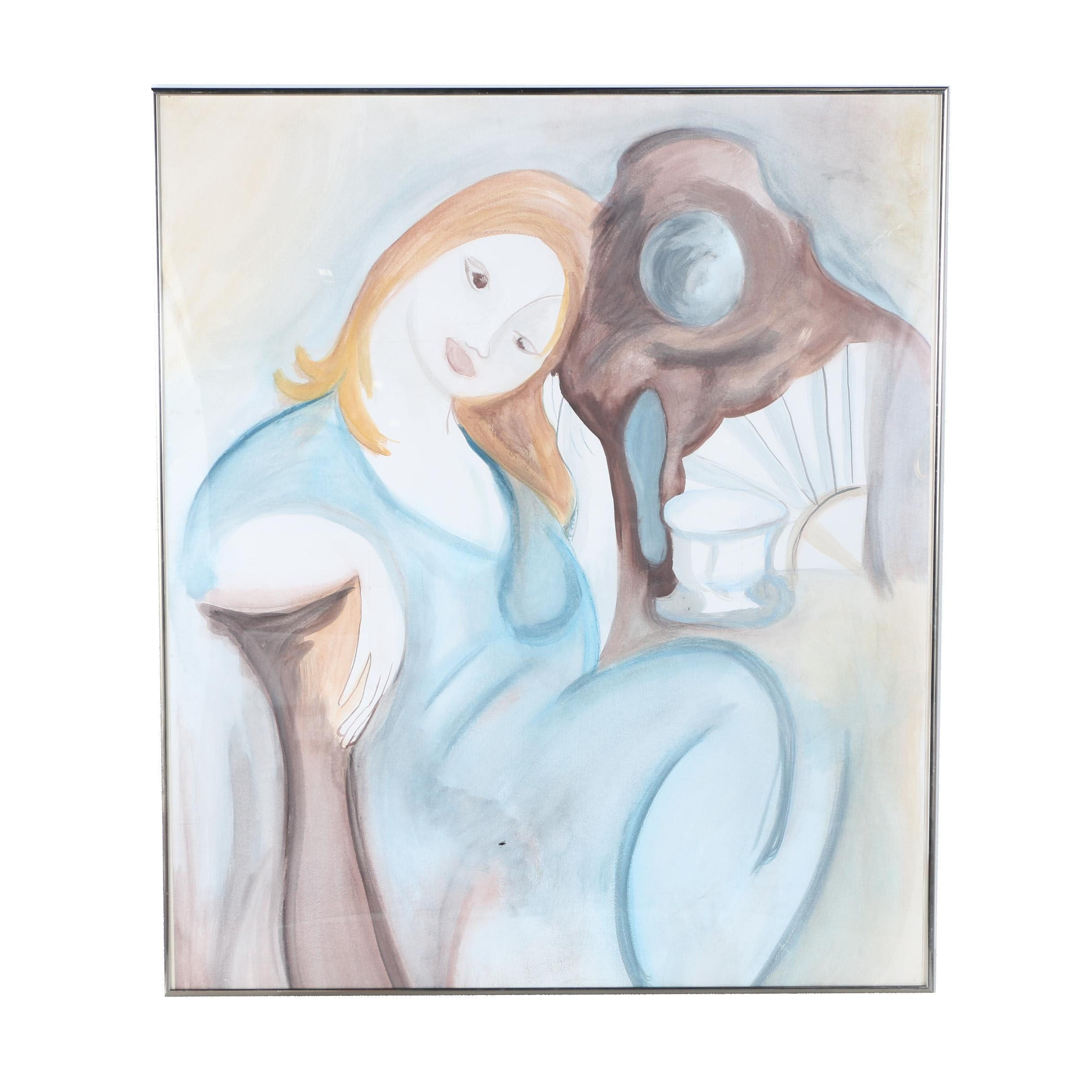 """Copy Painting after Marie Laurencin """"La Songeuse"""""""