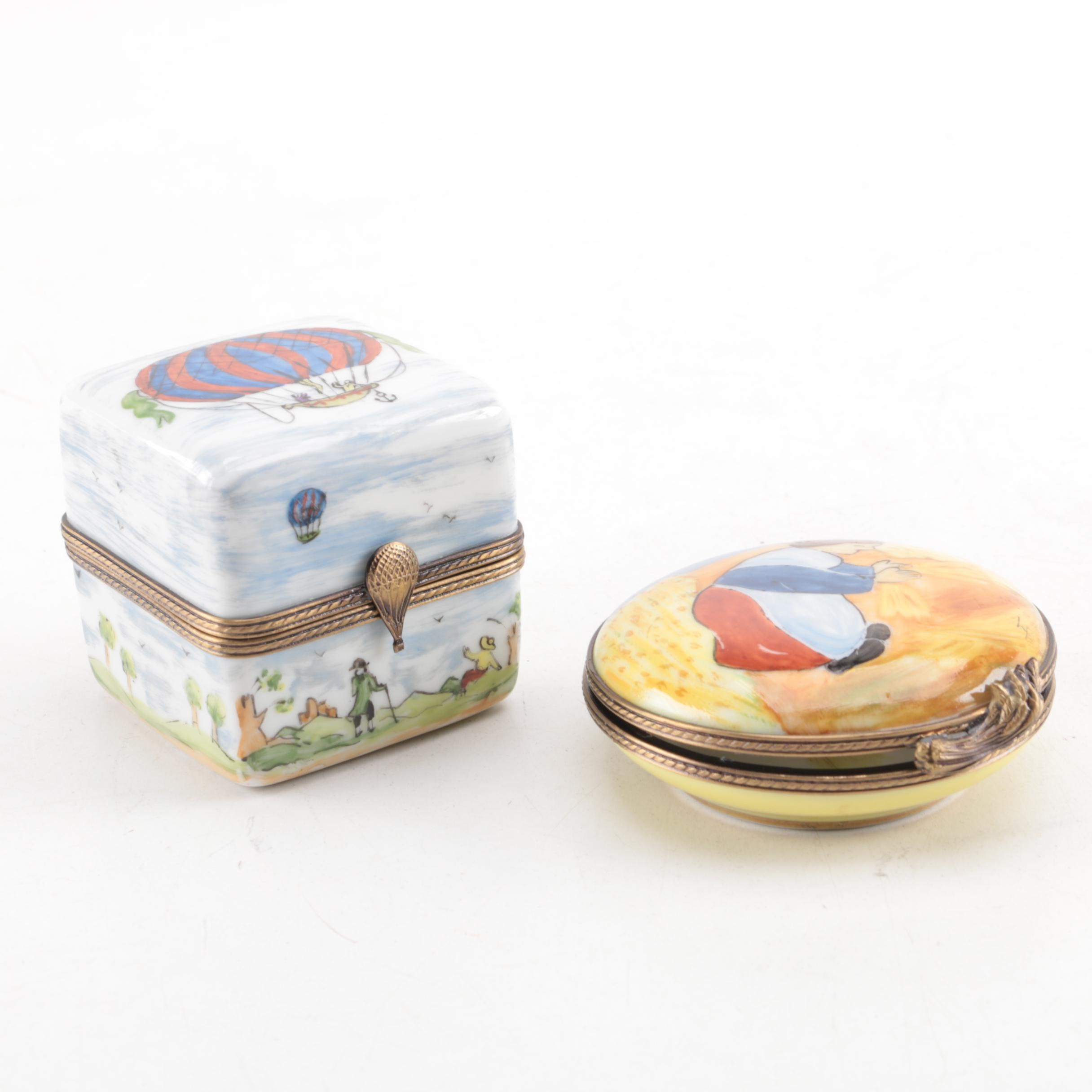 Hand-Painted Limoges Richard Trinket Boxes