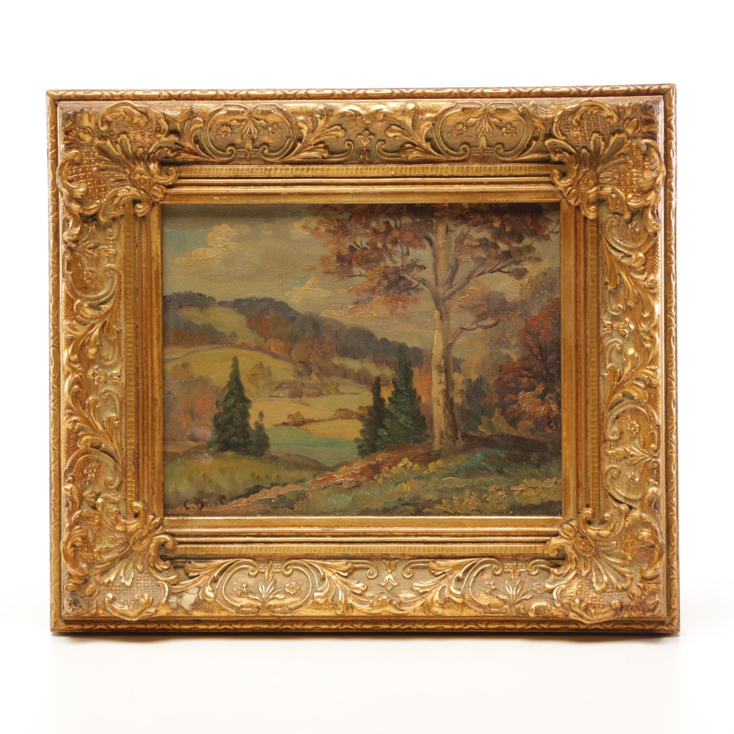 C. Barr Landscape Oil Painting