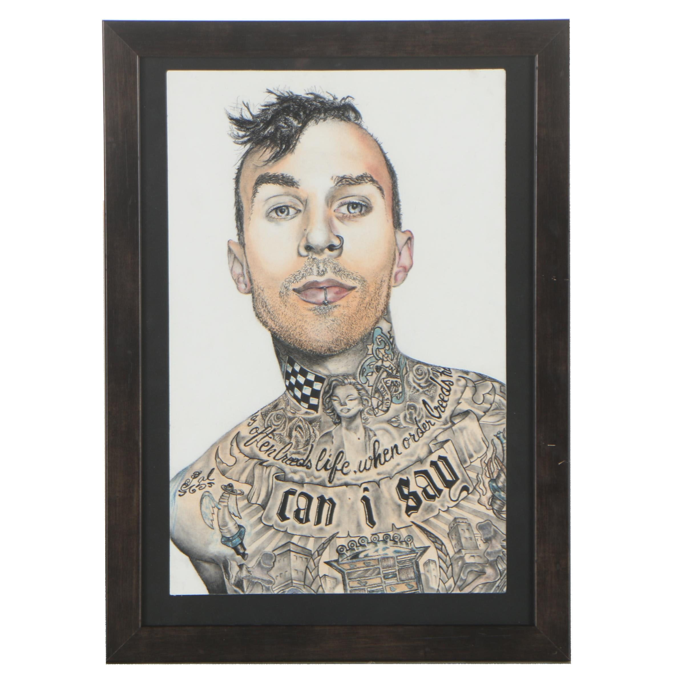 "Kourtnei Finnell 2009 Colored Pencil Drawing ""Travis Barker Portrait"""