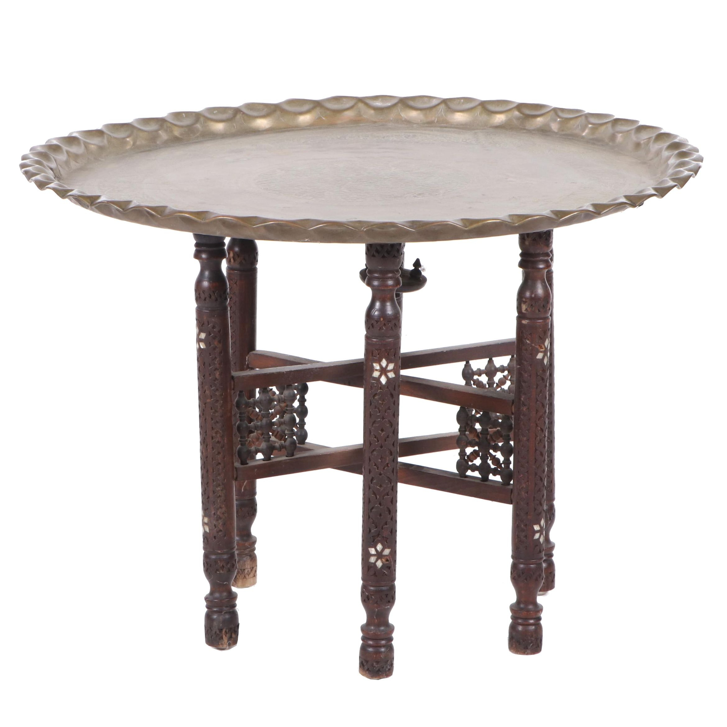 Folding Moroccan Style Brass Tray Table