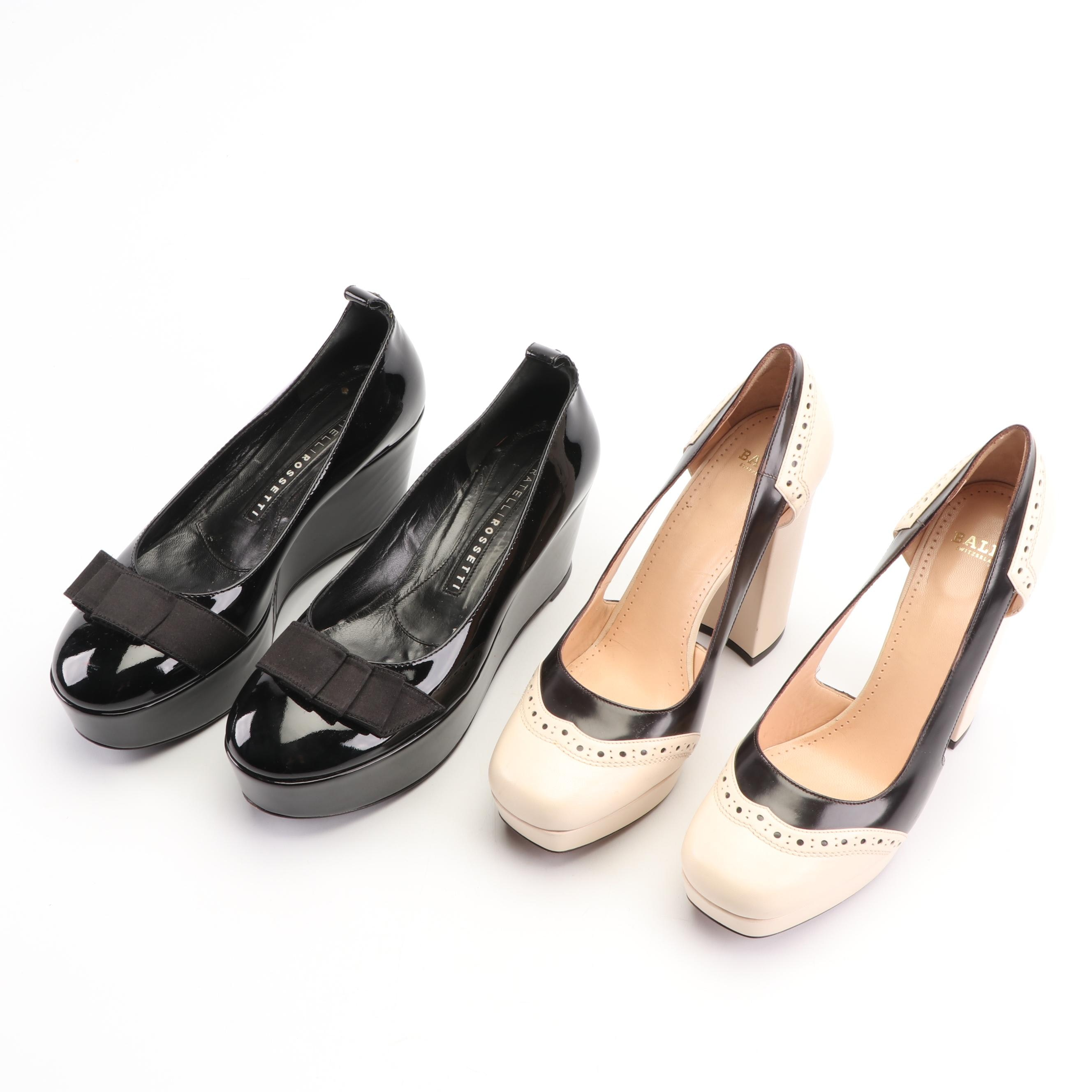 Fratelli Rossetti Patent Leather Wedges and Bally Leather Pumps, Made in Italy