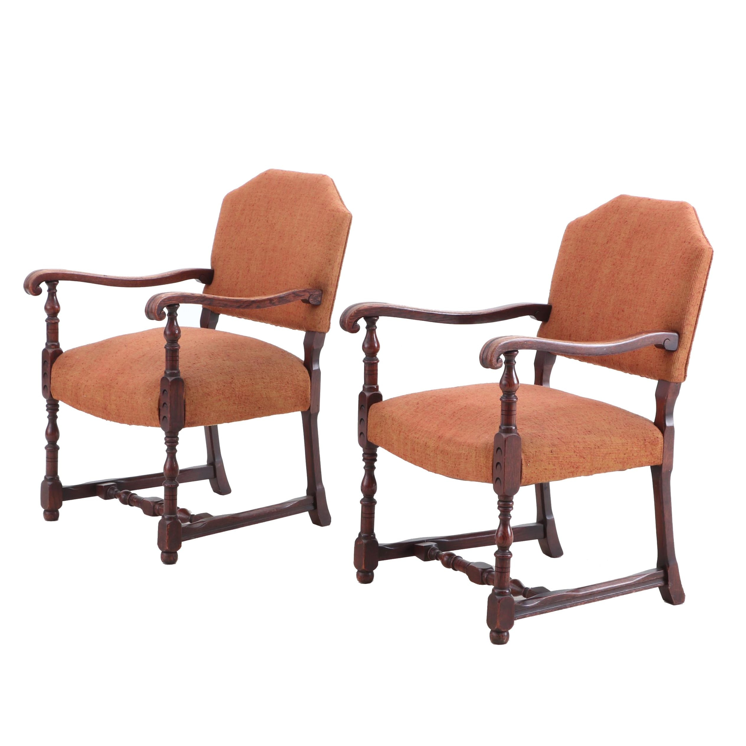 Baroque Style Upholstered Arm Chairs, Contemporary