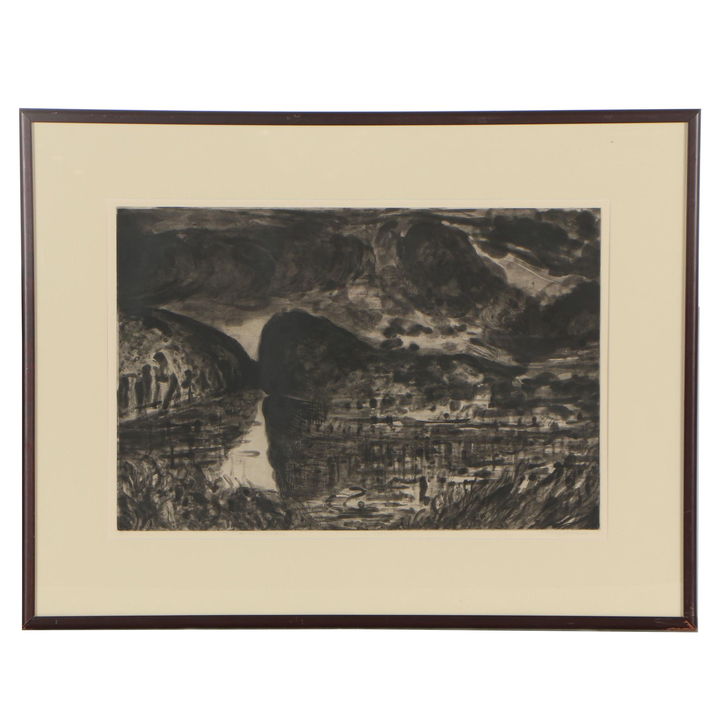 """Nancy Friese 1992 Etching """"River/Riviere"""""""