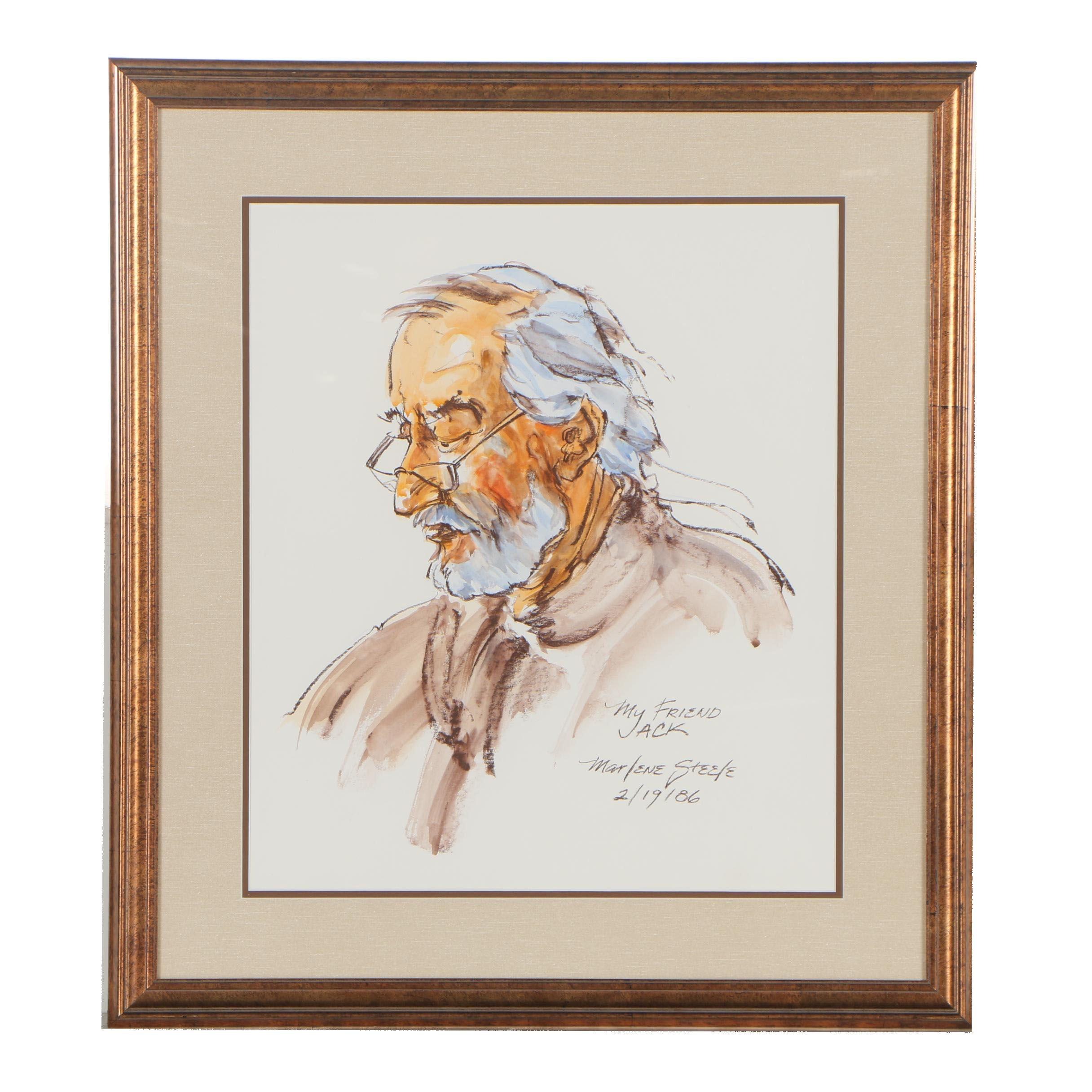 "Marlene Steele 1986 Embellished Watercolor Painting ""My Friend Jack"""